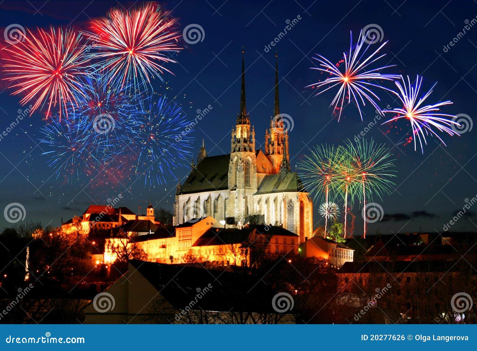 Feuerwerke über Brno