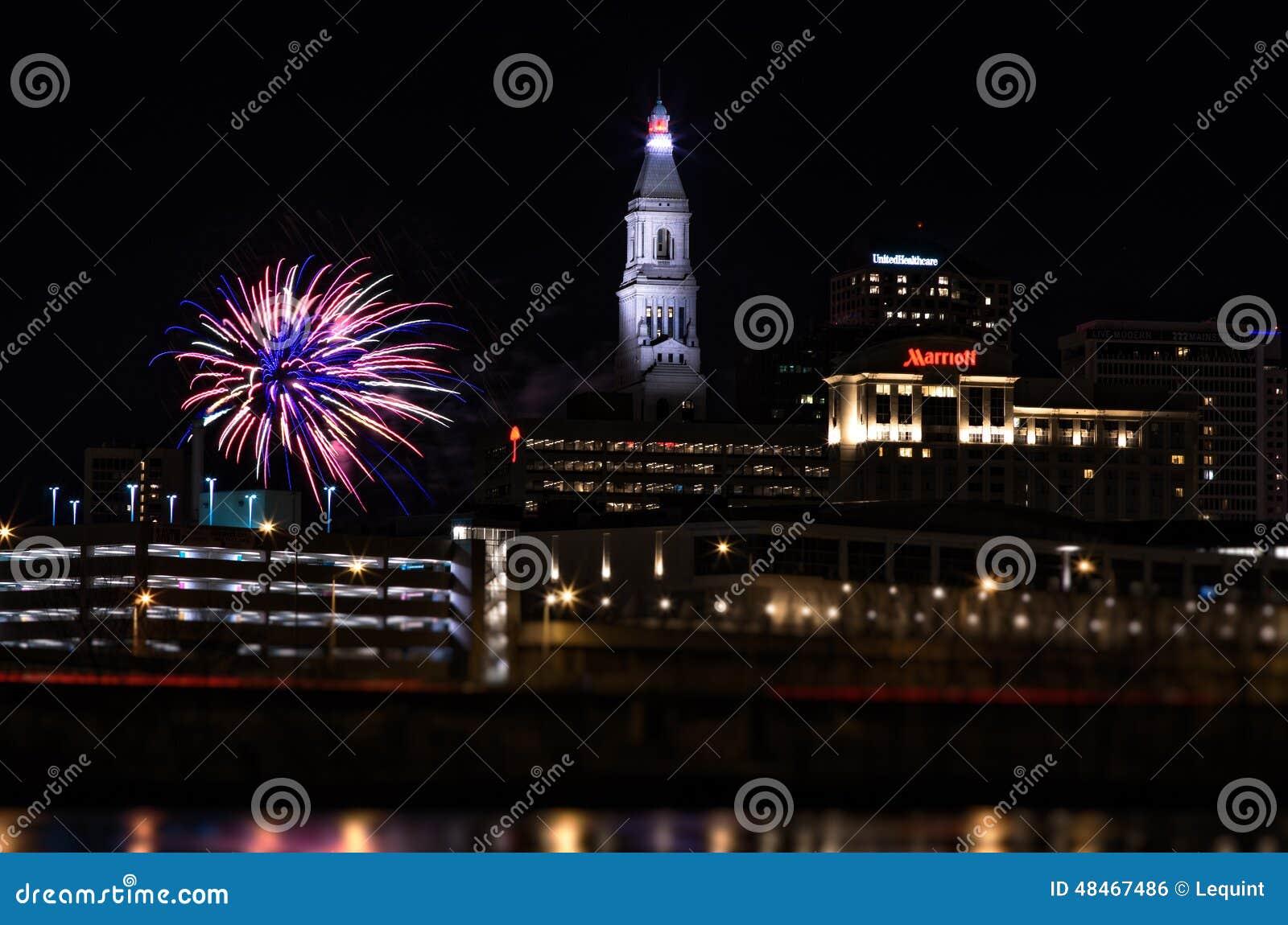 Feuerwerke neuen Jahres Hartfords Connecticut