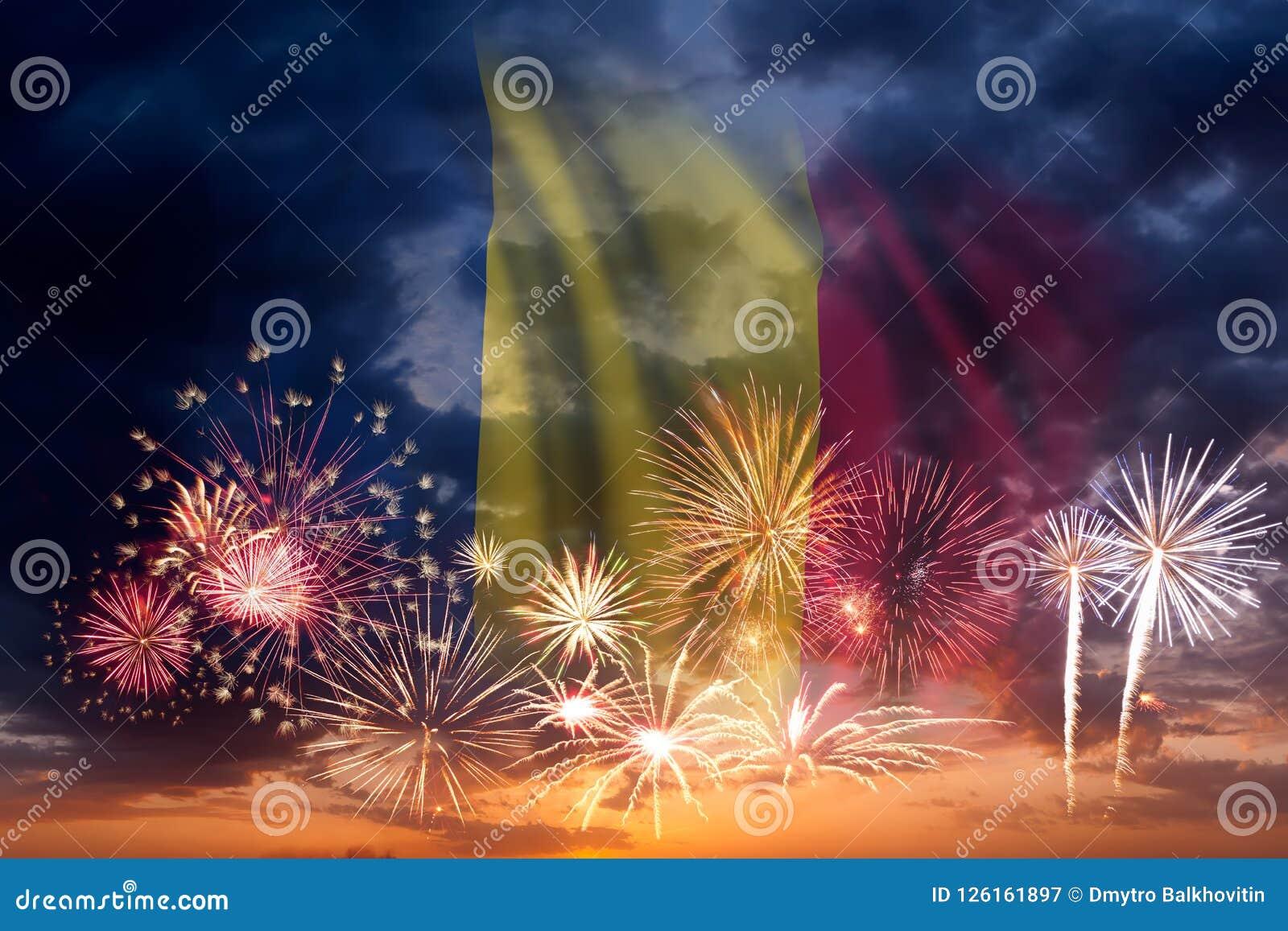 Feuerwerke und Flagge von Tschad