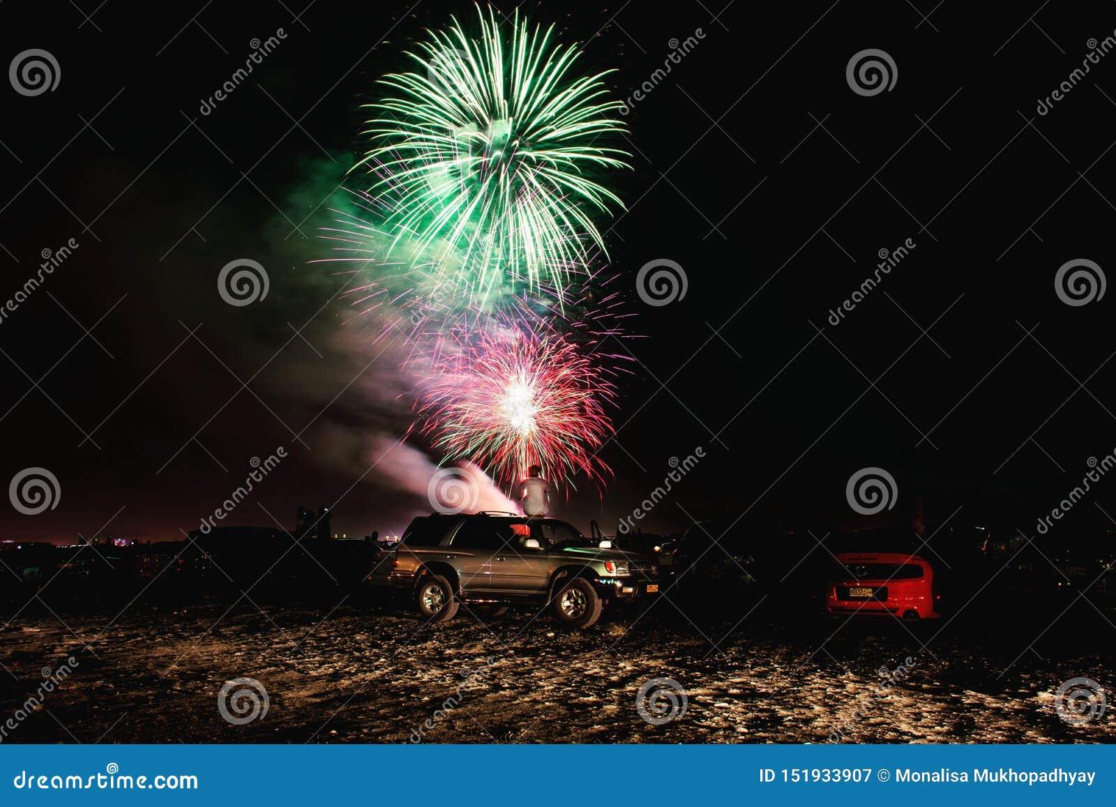 Feuerwerksfeier während des Abends