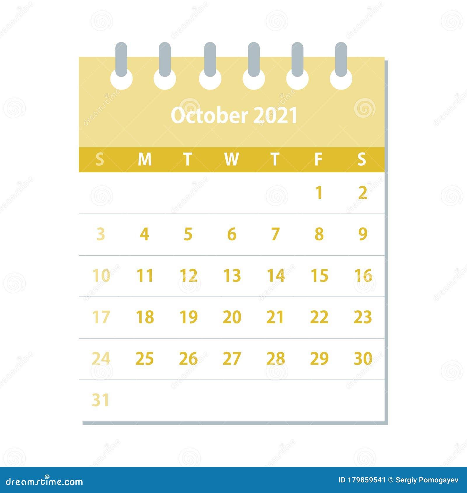 Feuille De Calendrier D'octobre 2021 Modèle De Conception De