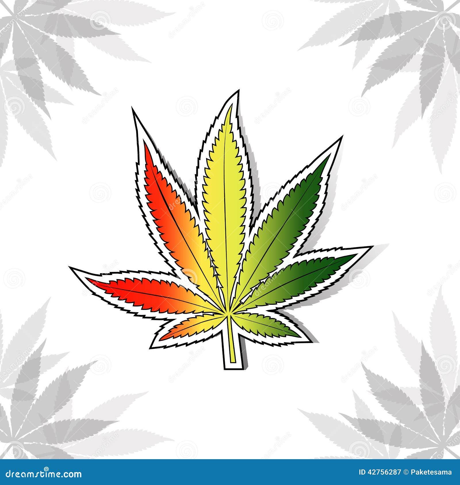 Feuille de cannabis avec des couleurs rastafarian de drapeau illustration de vecteur - Dessin feuille cannabis ...