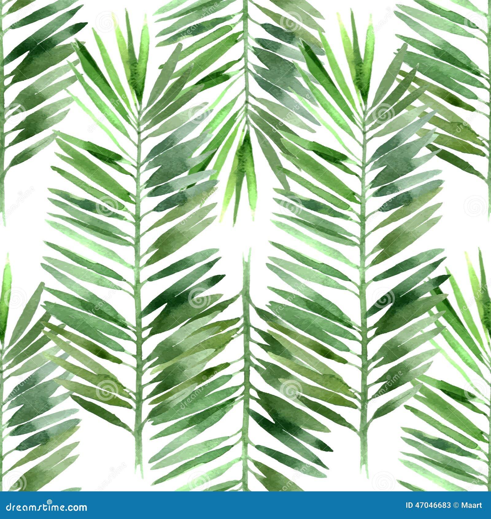 Feuille de palmier d 39 aquarelle sans couture illustration for Feuille de palmier deco