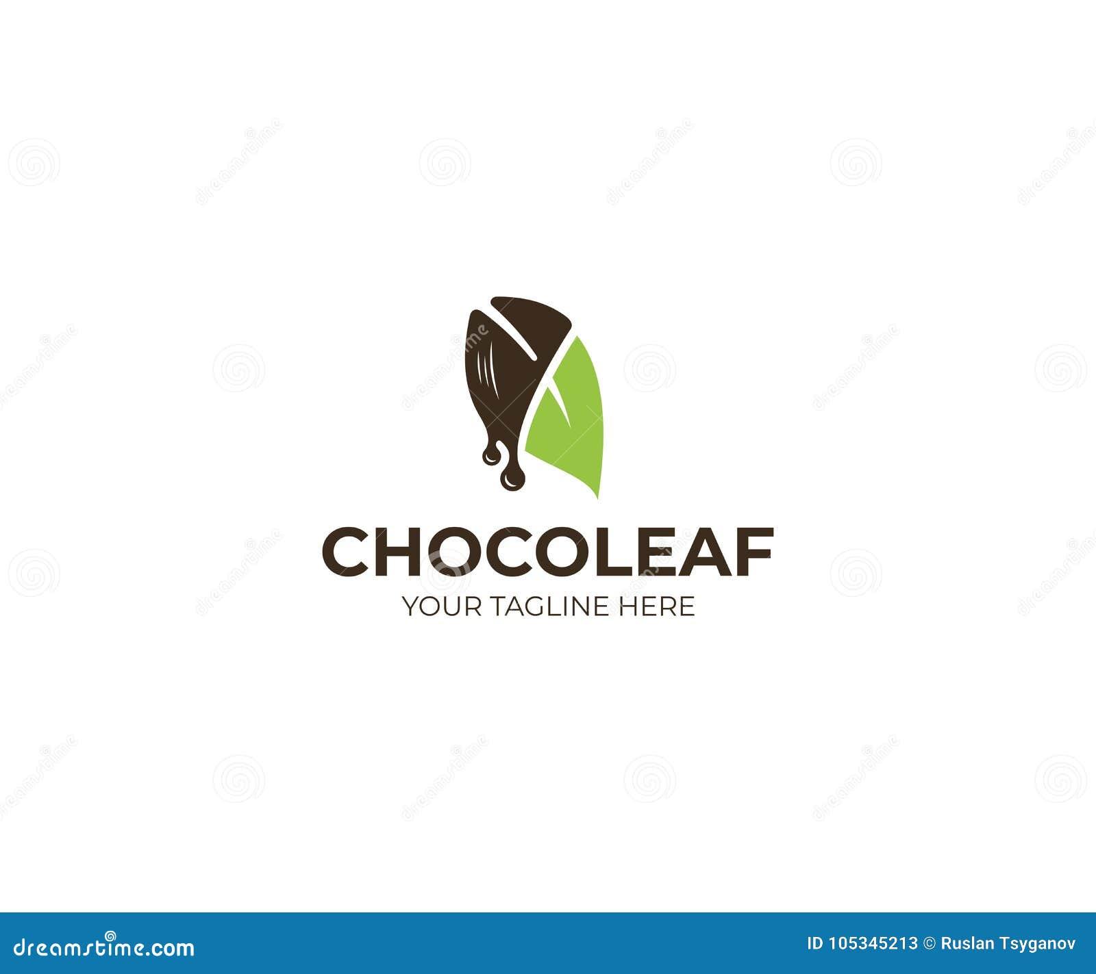 Feuille Logo Template de chocolat Conception de vecteur de confiserie