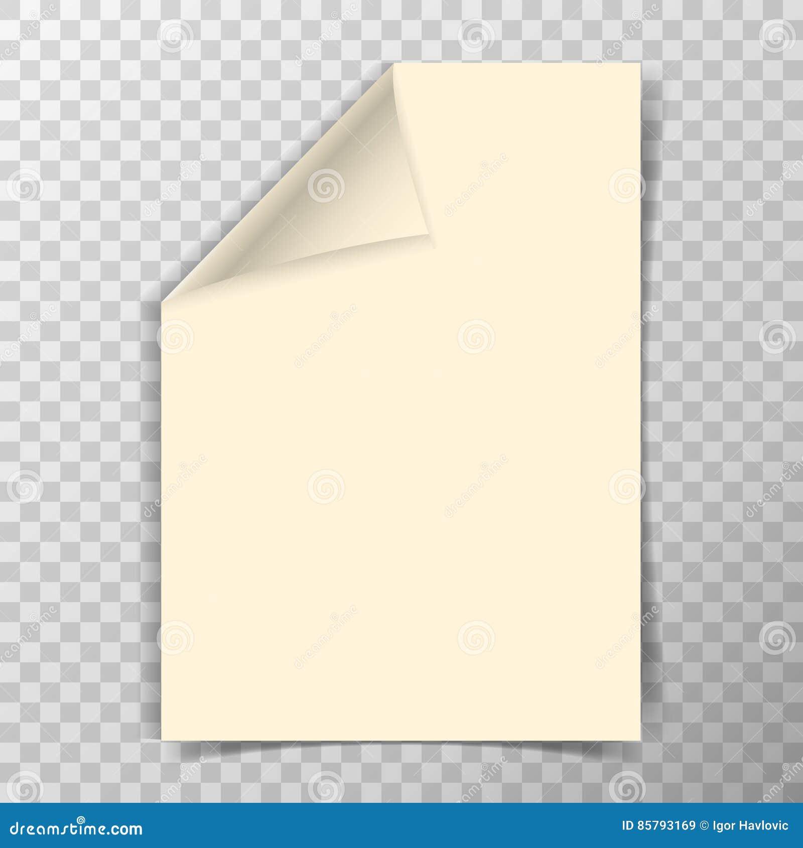 Feuille pliée du papier a4 sur le fond transparent