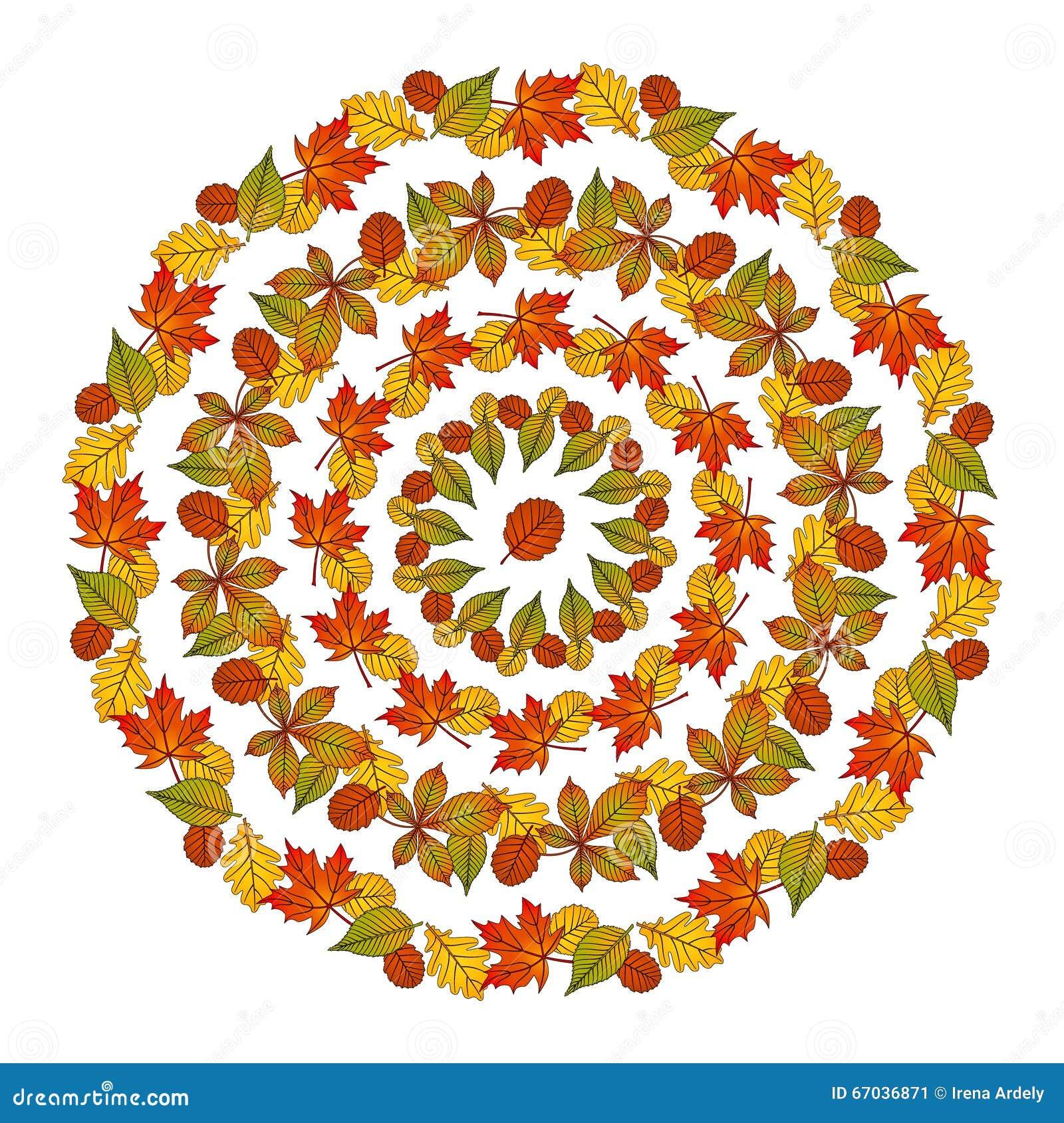 Feuilles d 39 automne circulaires de mandala de mod le de - Modele de mandala ...
