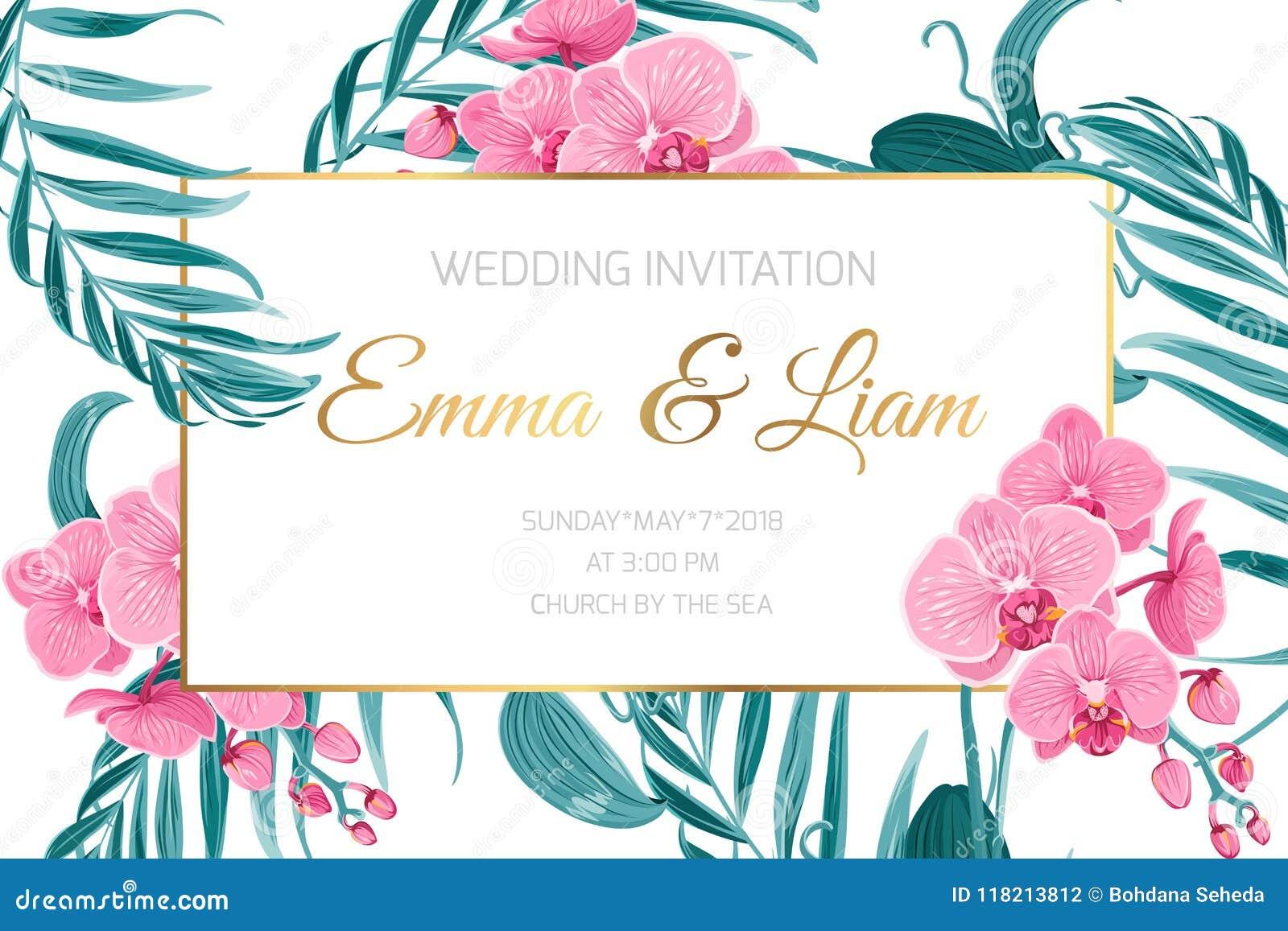 Feuilles De Fleur D Orchidee De Porte Cartes D Invitation De Mariage