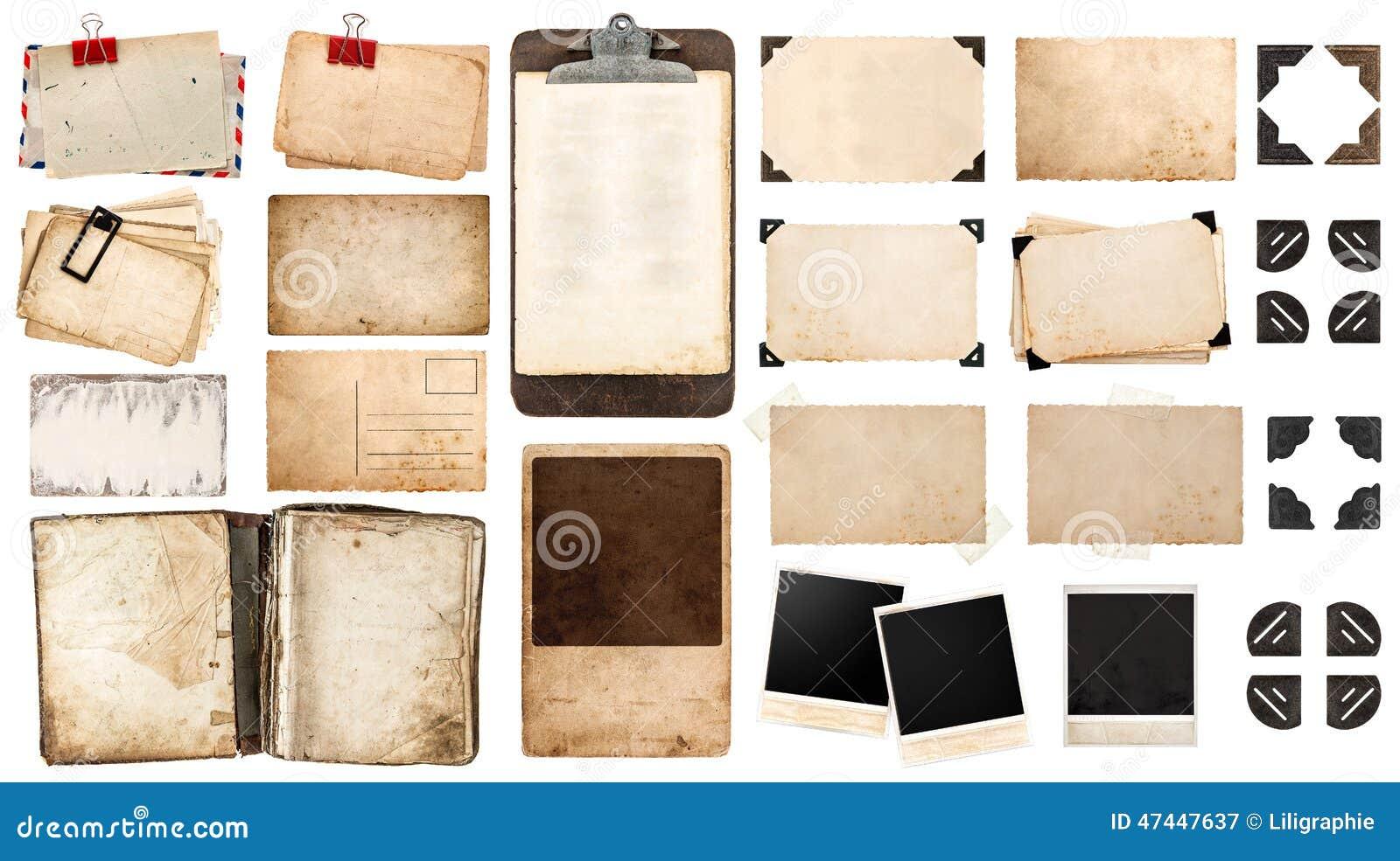 Feuilles de papier de vintage, livre, vieux cadres de photo et coins, antiqu