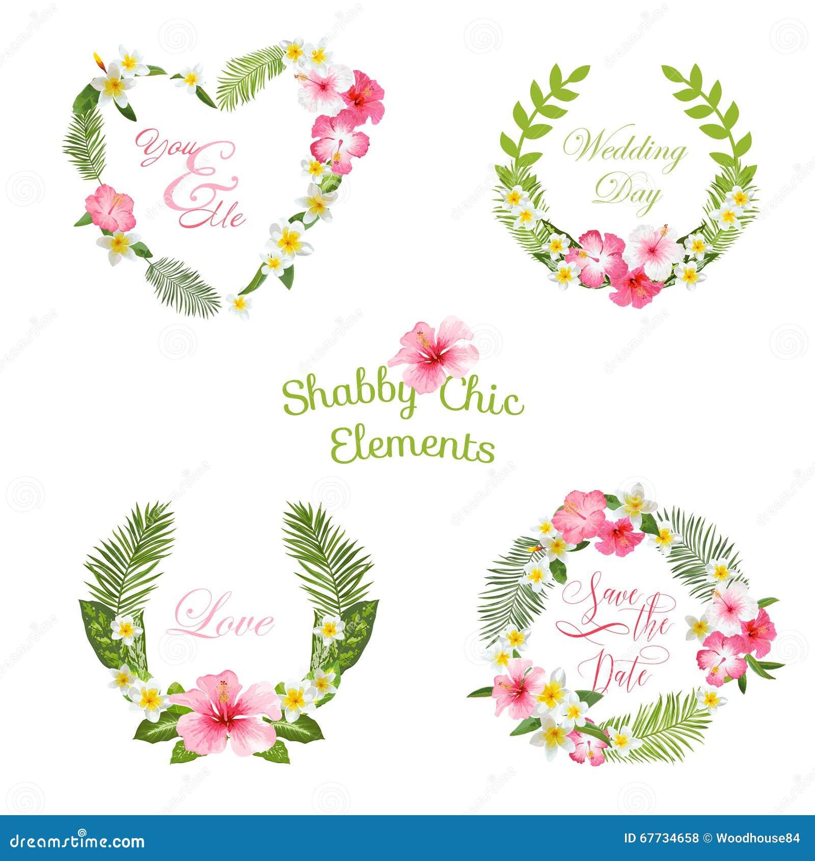 Feuilles et banni res et tiquettes tropicales de fleurs for Porte nom a imprimer gratuitement
