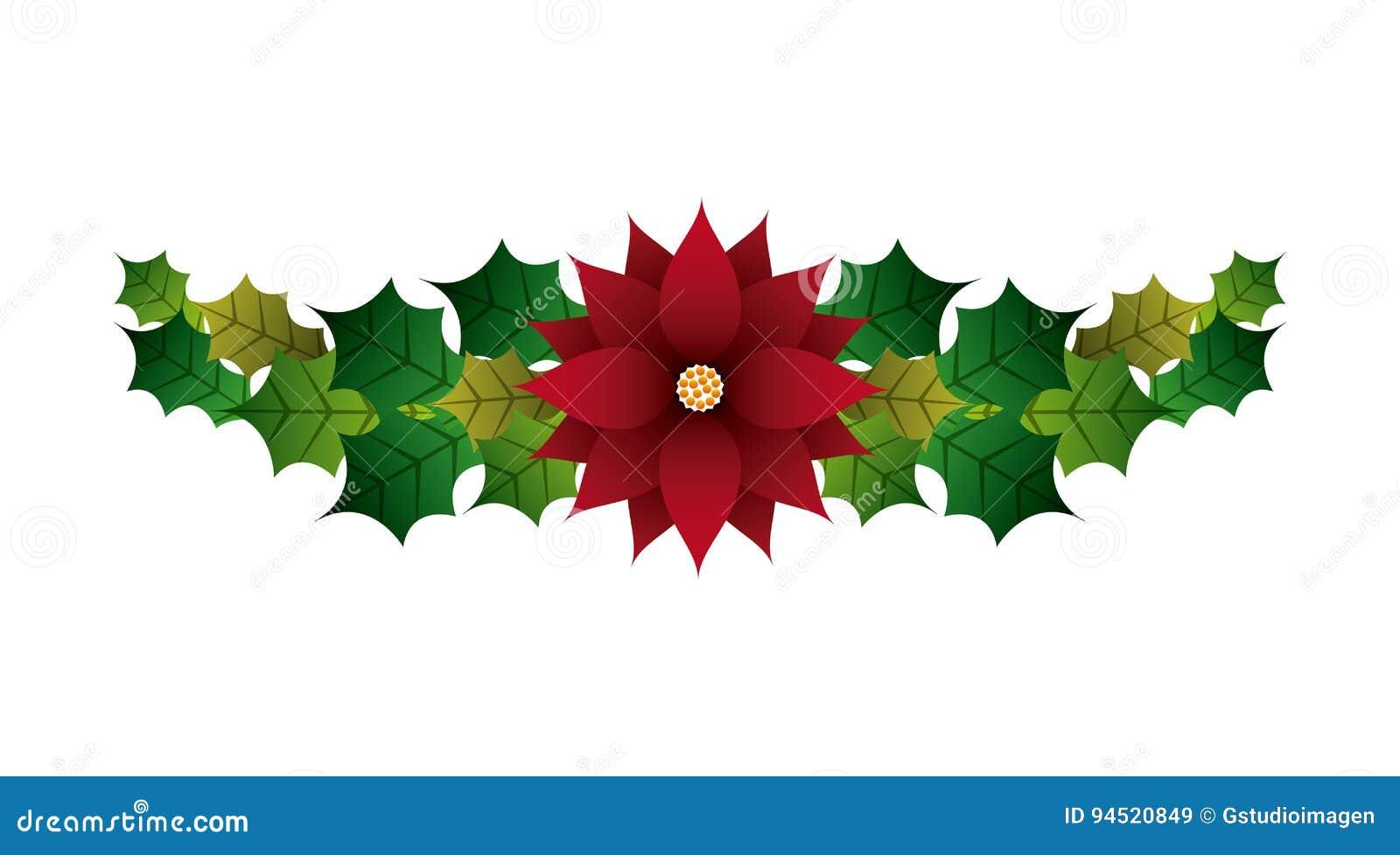 Image Fleur Noel.Feuilles Et Icone De Fleur Conception De Joyeux Noel Dessin