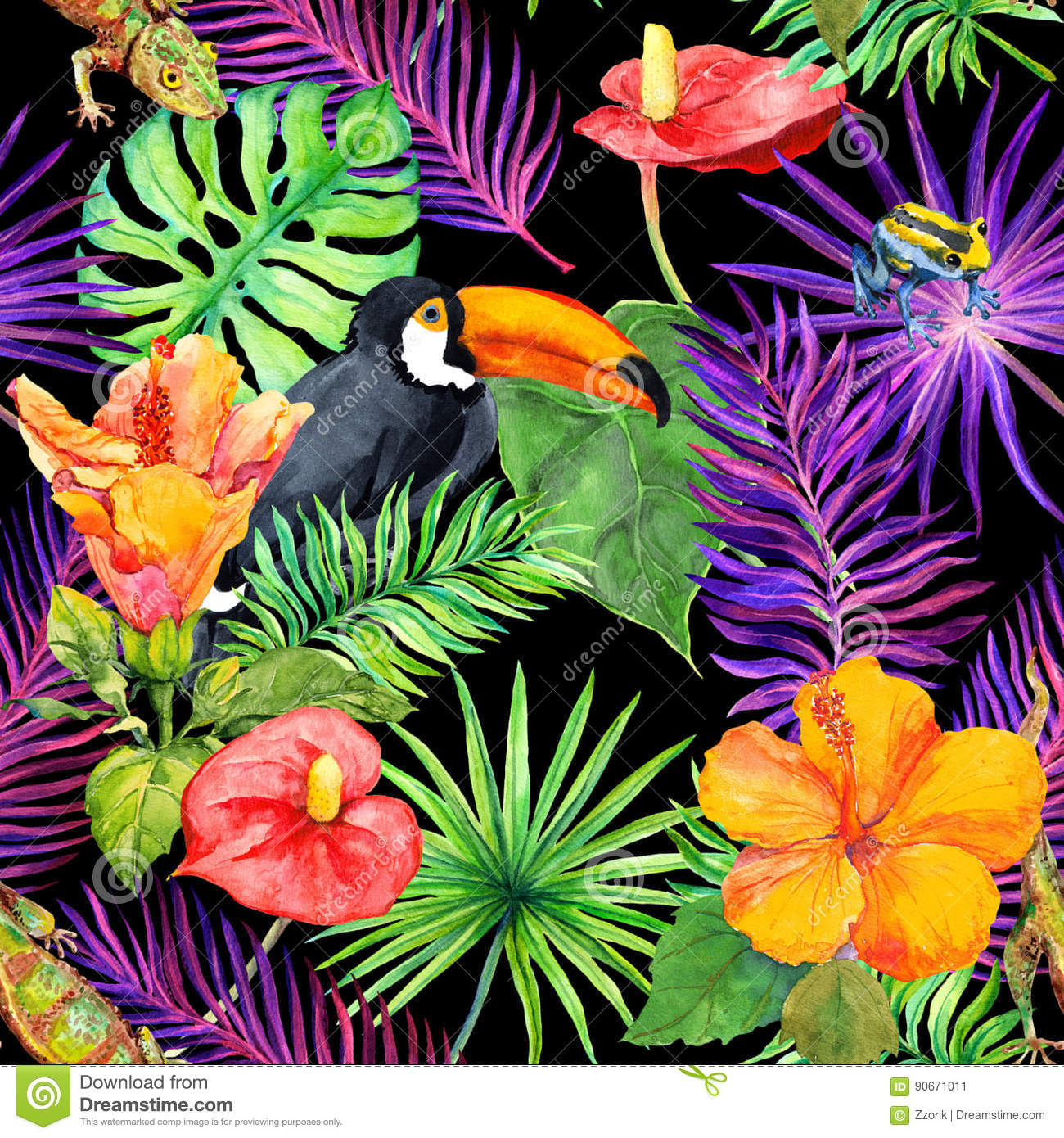 feuilles tropicales fleurs exotiques oiseau de toucan gecko papier peint sans joint. Black Bedroom Furniture Sets. Home Design Ideas