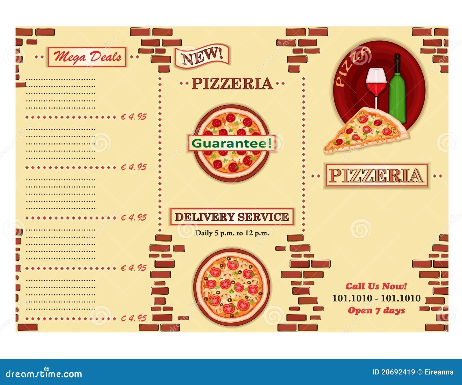 feuillet de restaurant de pizzeria images libres de droits