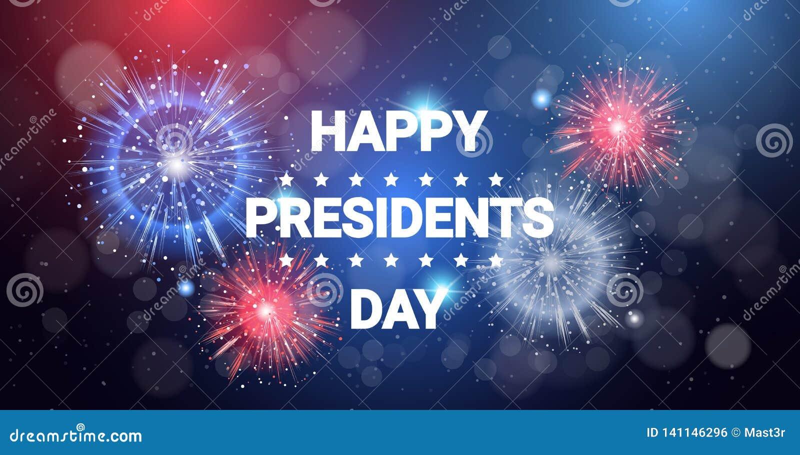 Feux d artifice heureux de célébration de vacances des Etats-Unis de concept de jour de président dans la carte de voeux de coule