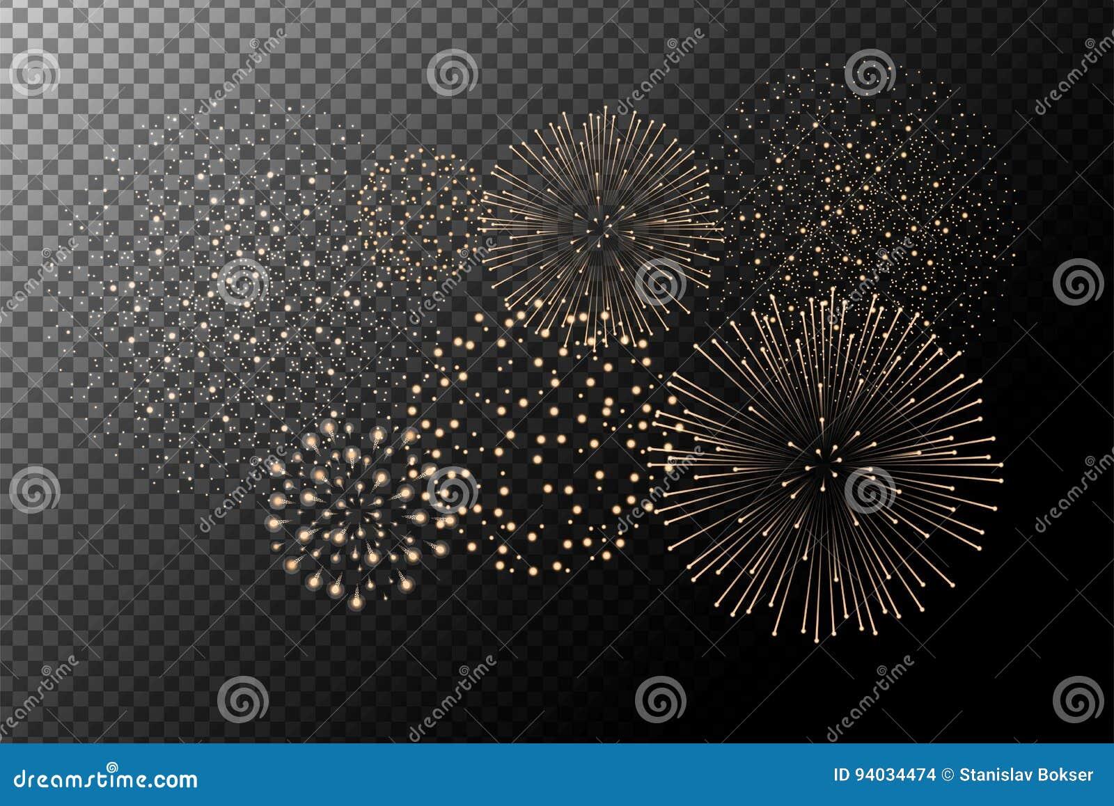 Feux d artifice sur le fond transparent Concept de Jour de la Déclaration d Indépendance Fond de fête et de vacances