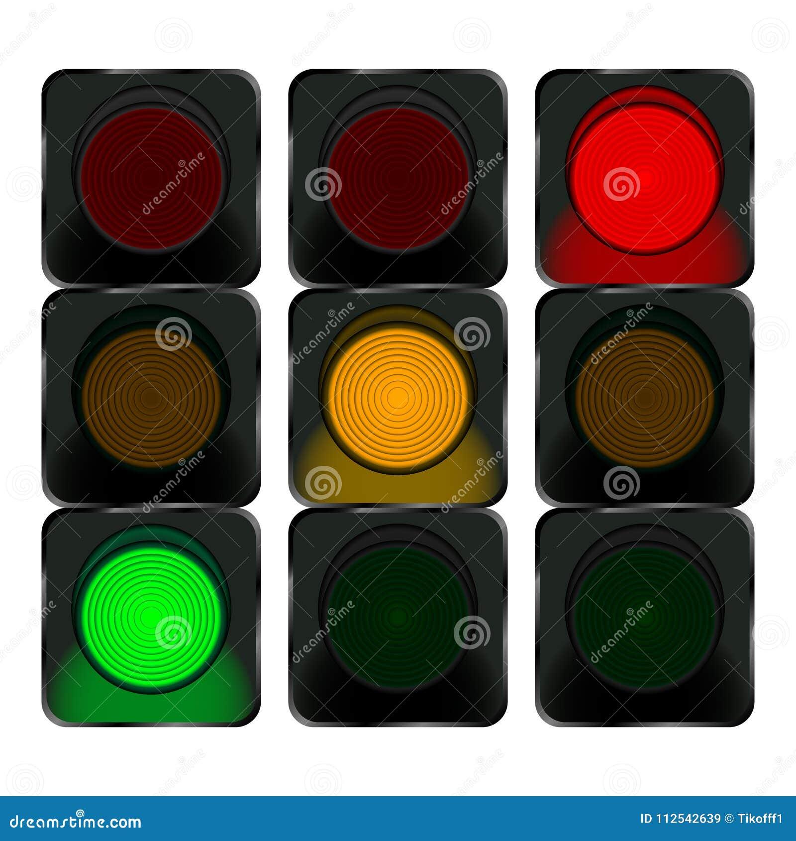 feux de signalisation lumi re rouge lumi re orange feu vert illustration de vecteur. Black Bedroom Furniture Sets. Home Design Ideas