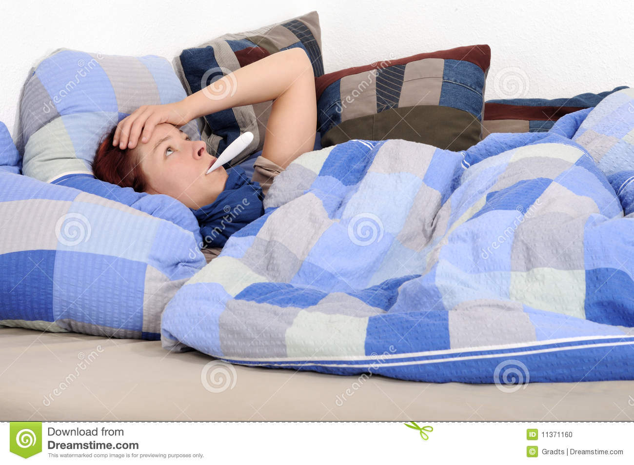 Fever Girl Ill Stock Photo Image Of Sick Woman