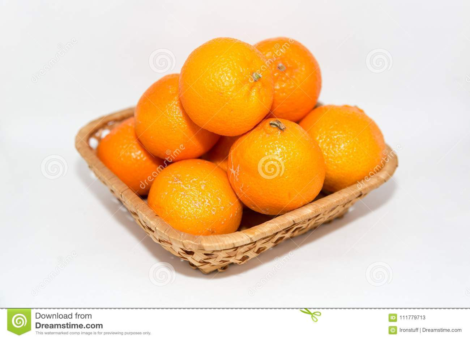 Orange tangerines in a basket
