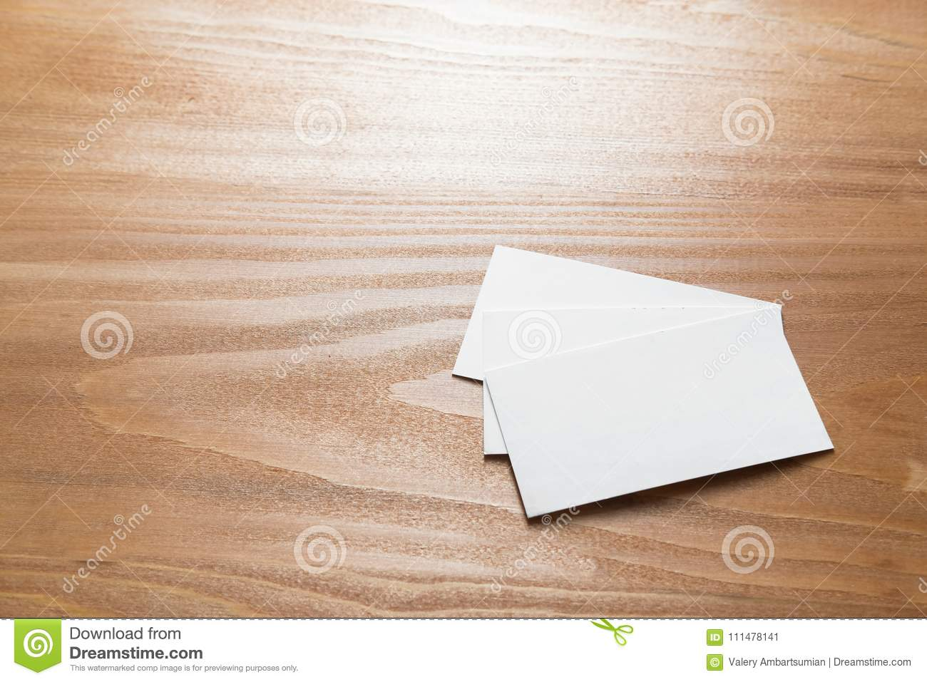 Few clean white business cards with space for text