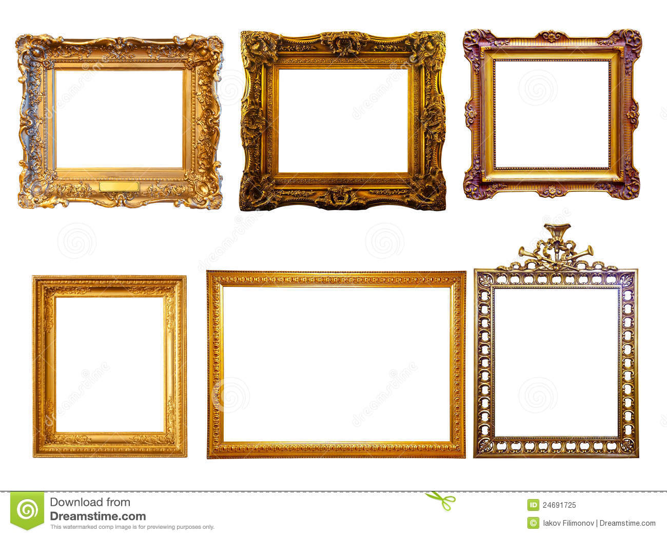 few gilded frames isolated over white background