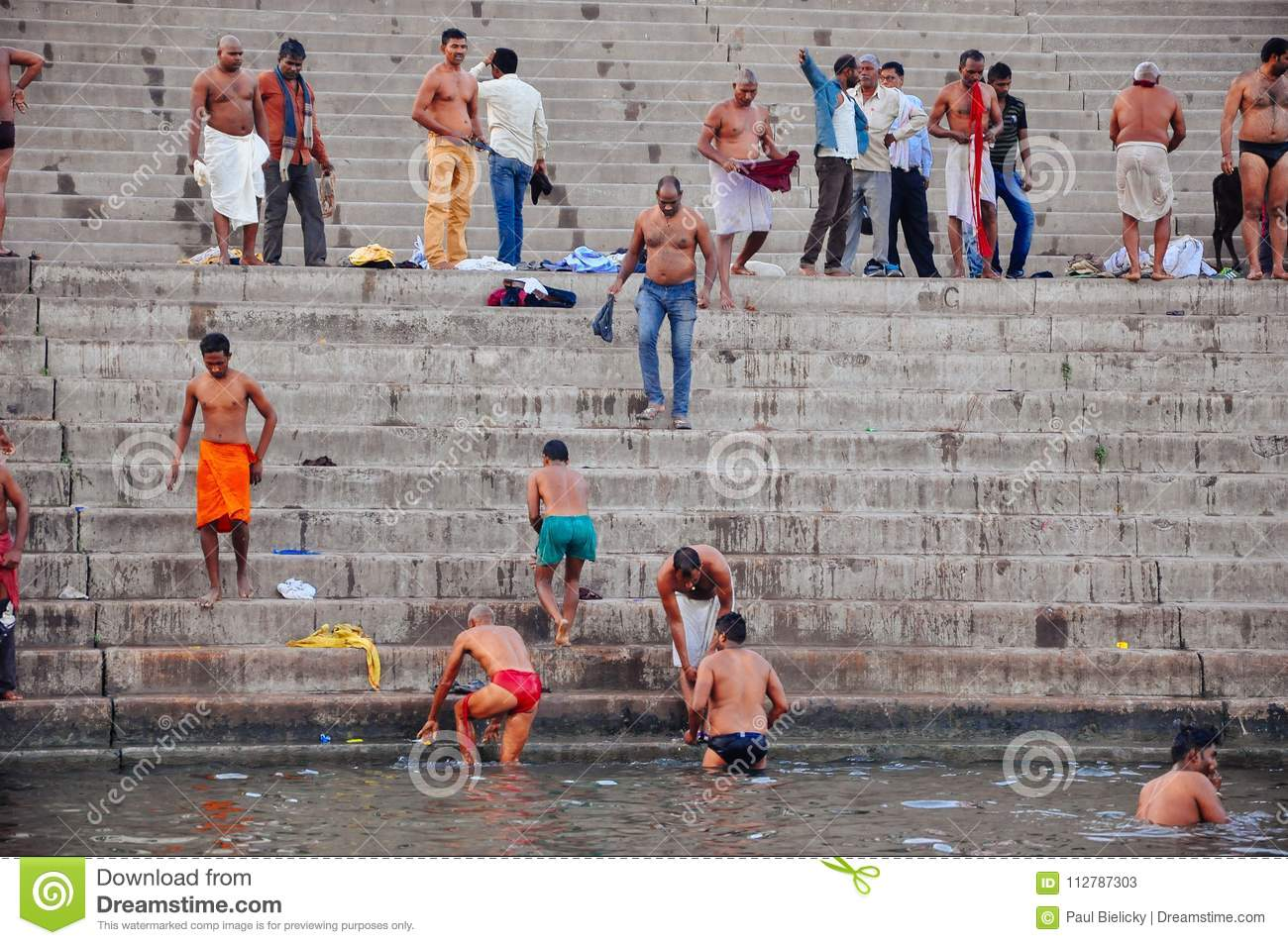 Locals having a bath in Varanasi, India.