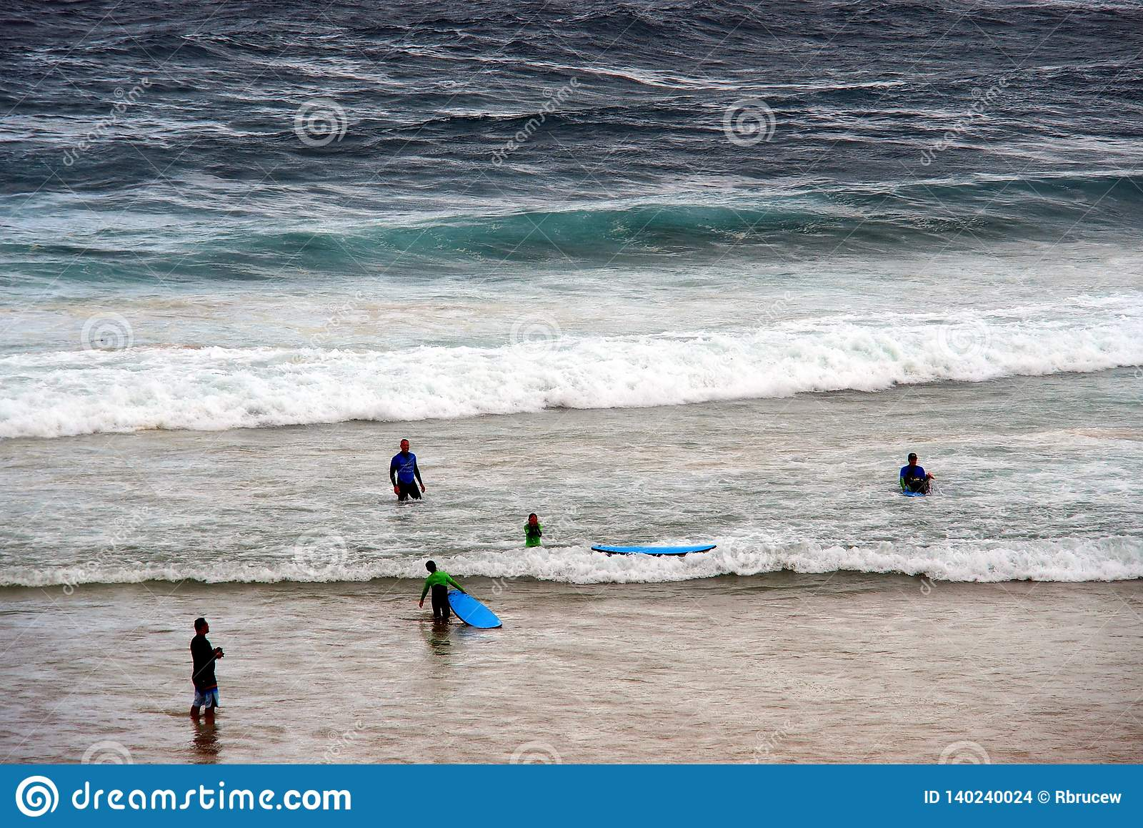 Swimmers In Rough Bondi Beach Surf, Sydney, Australia