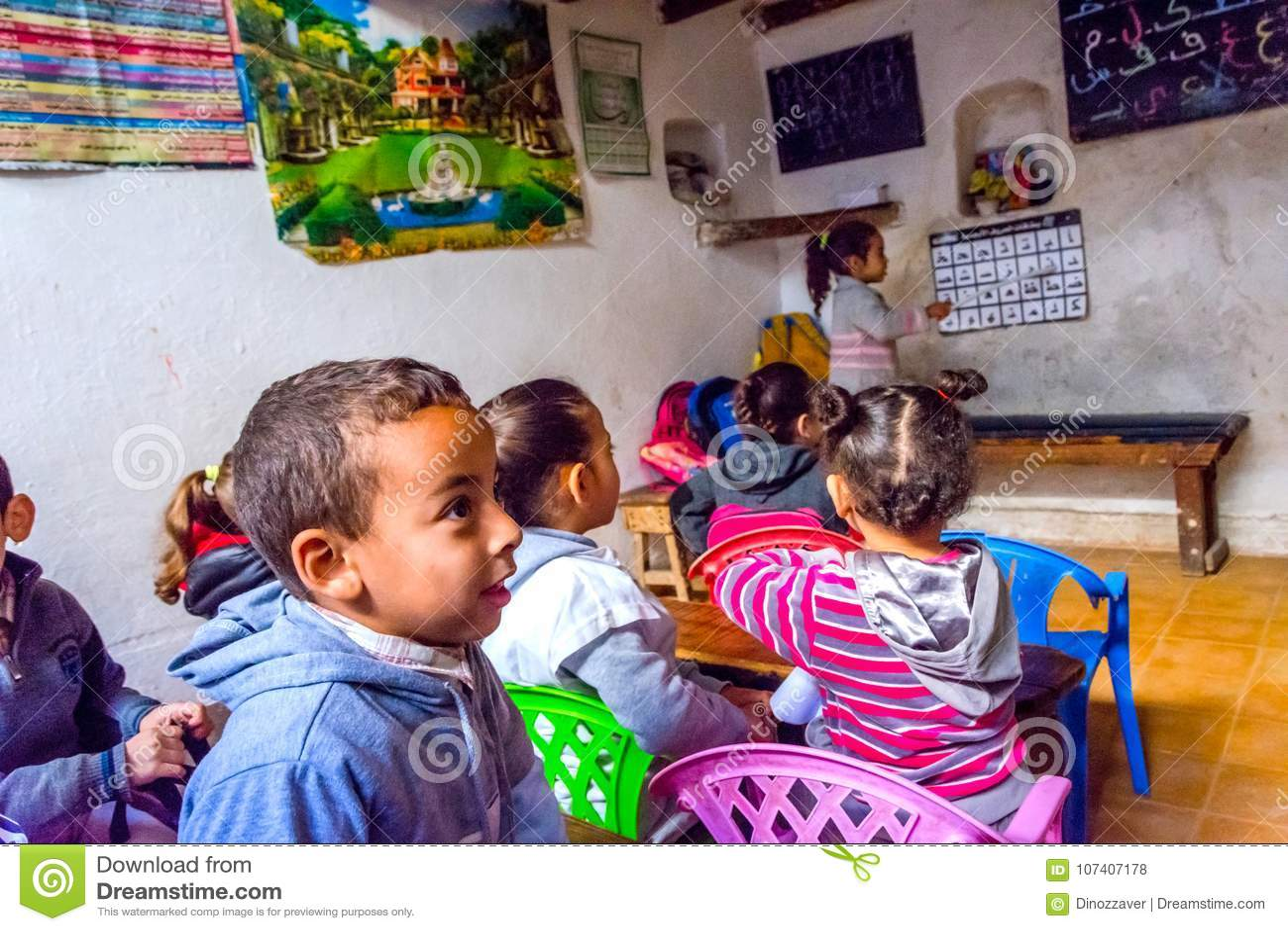 Children At School Classroom Stock Image - Image of