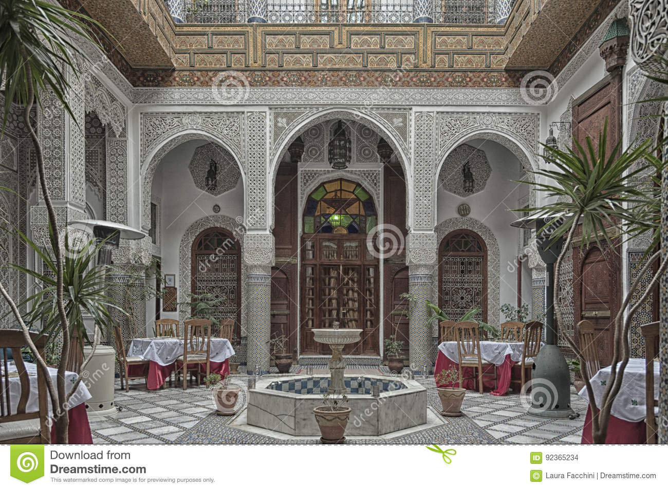 fez morocco february interior of a riad small family owned hotel in the medina of fes
