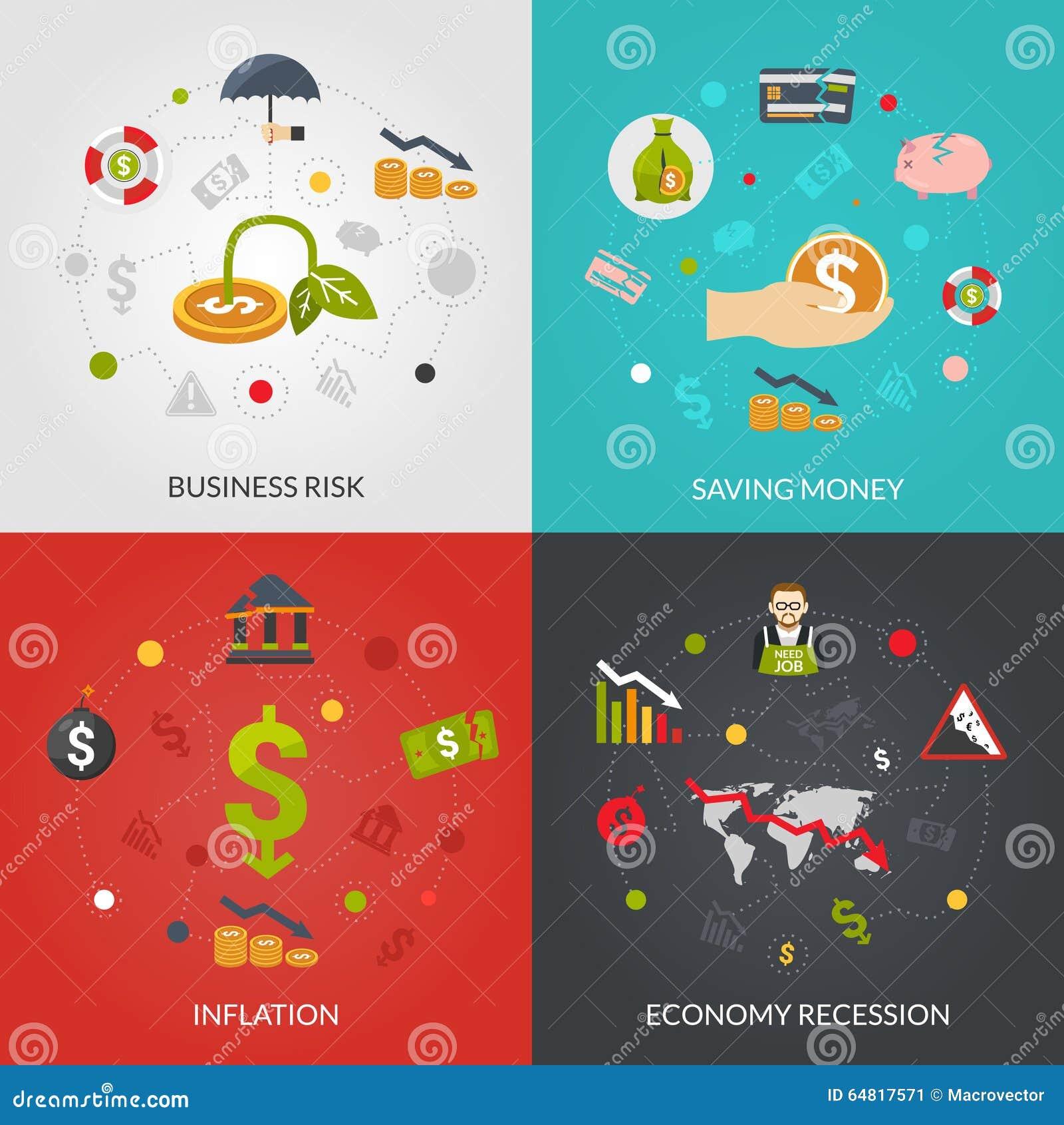 Ffinancialcrisis 4 Vlak Pictogrammenvierkant