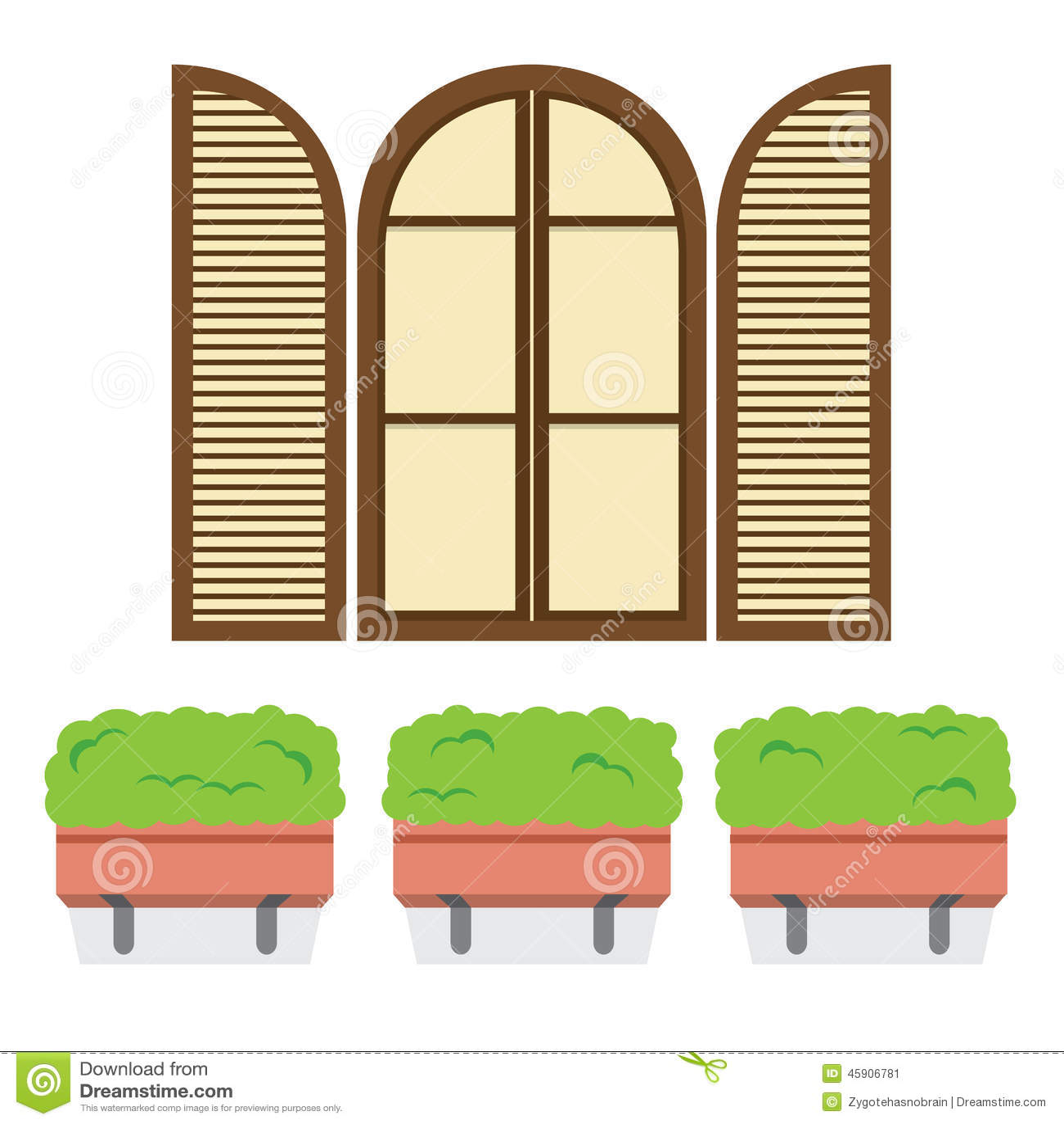 ffnen sie weinlese bogen fenster mit blument pfen unten vektor abbildung bild 45906781. Black Bedroom Furniture Sets. Home Design Ideas