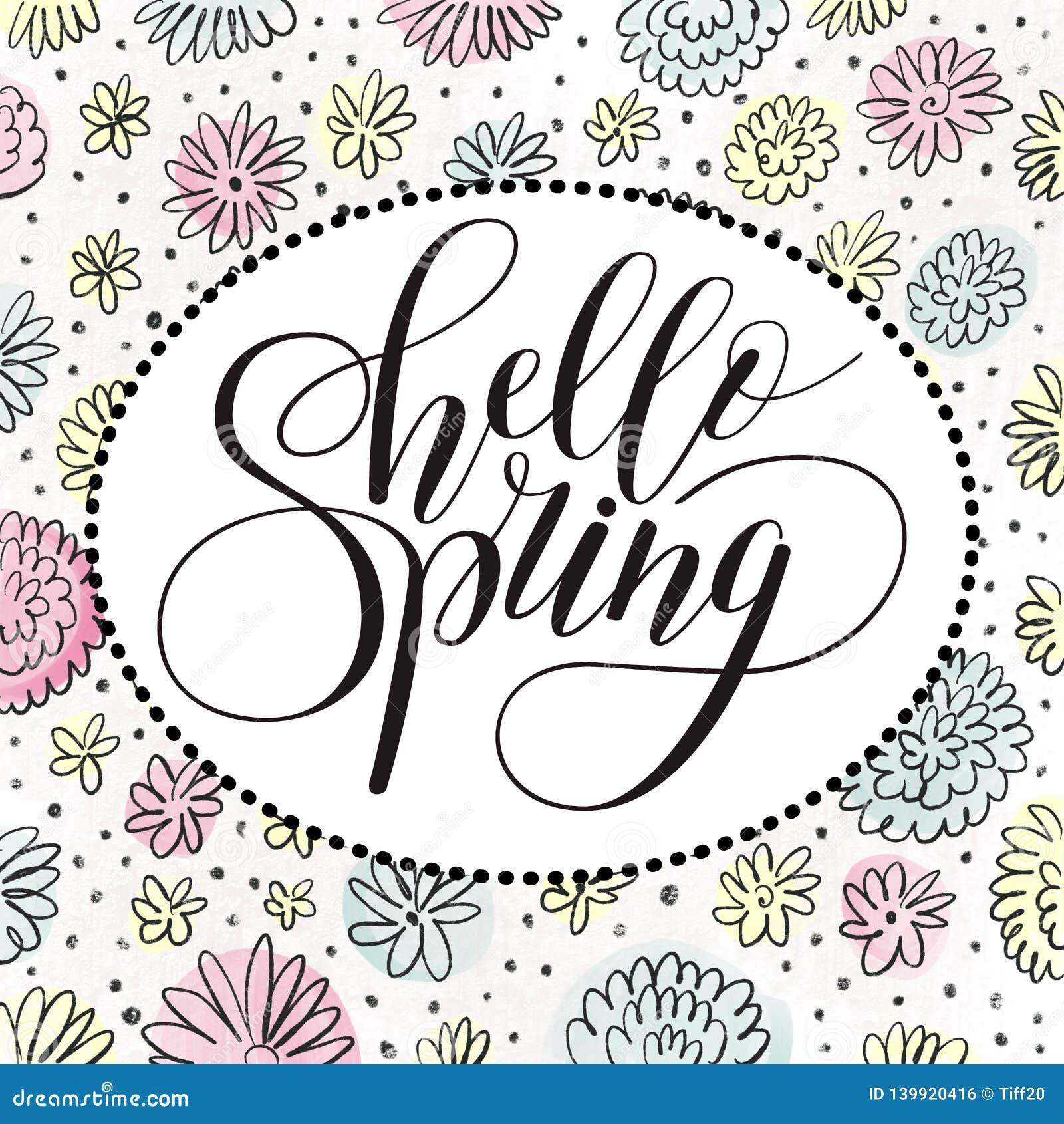 Fhrase `Hello spring!` Brush Pen lettering on a floral background