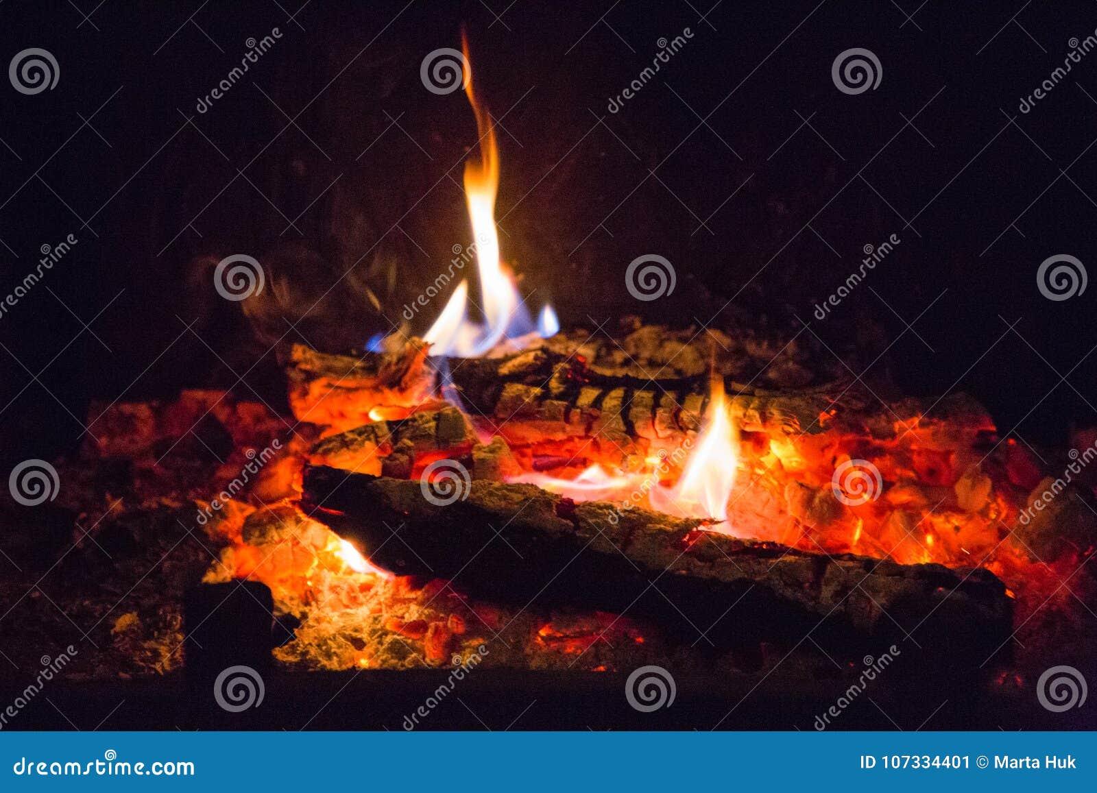 Fiamme del fuoco con la cenere in camino