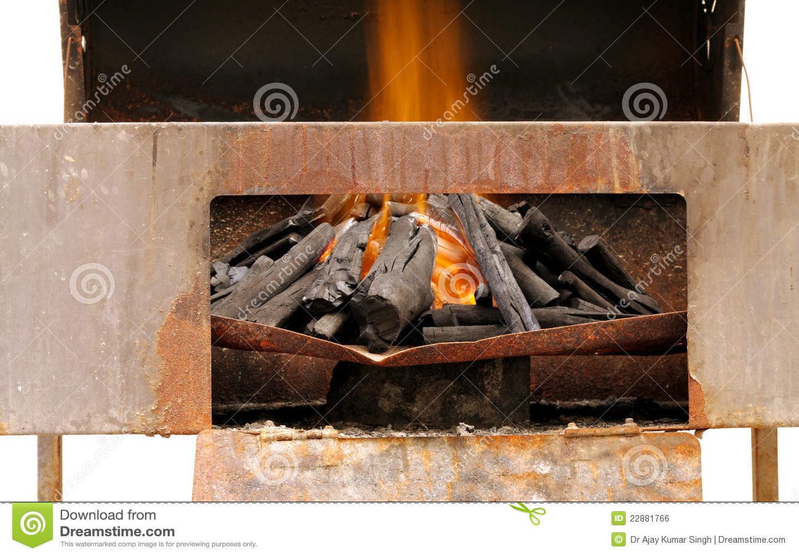 Fiamme sulla griglia ben illuminata del barbecue del carbone di
