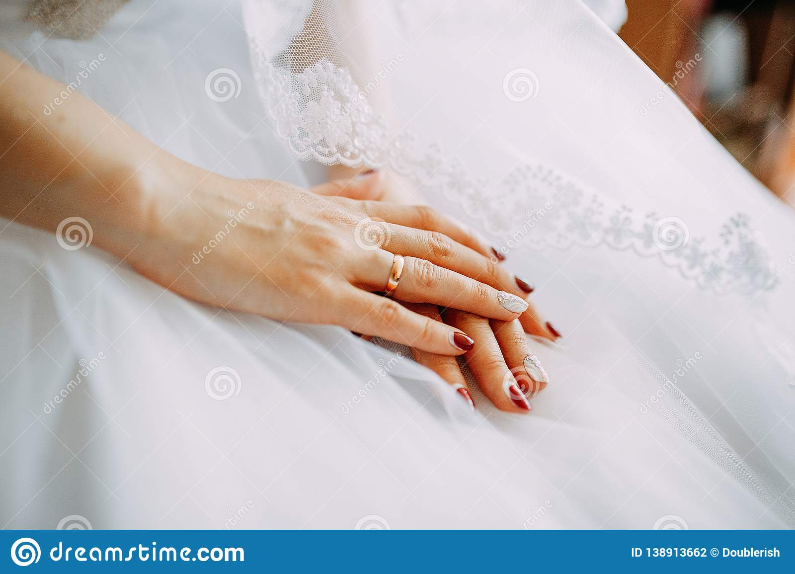 Fiancee Hands With Ring On The Wedding Dress Stock Photo Image