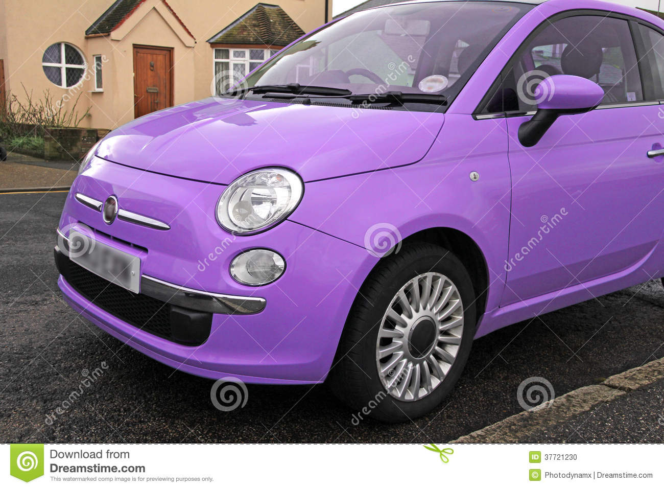 Fiat 500 Small Modern Car Stock Photo Image Of Violet 37721230