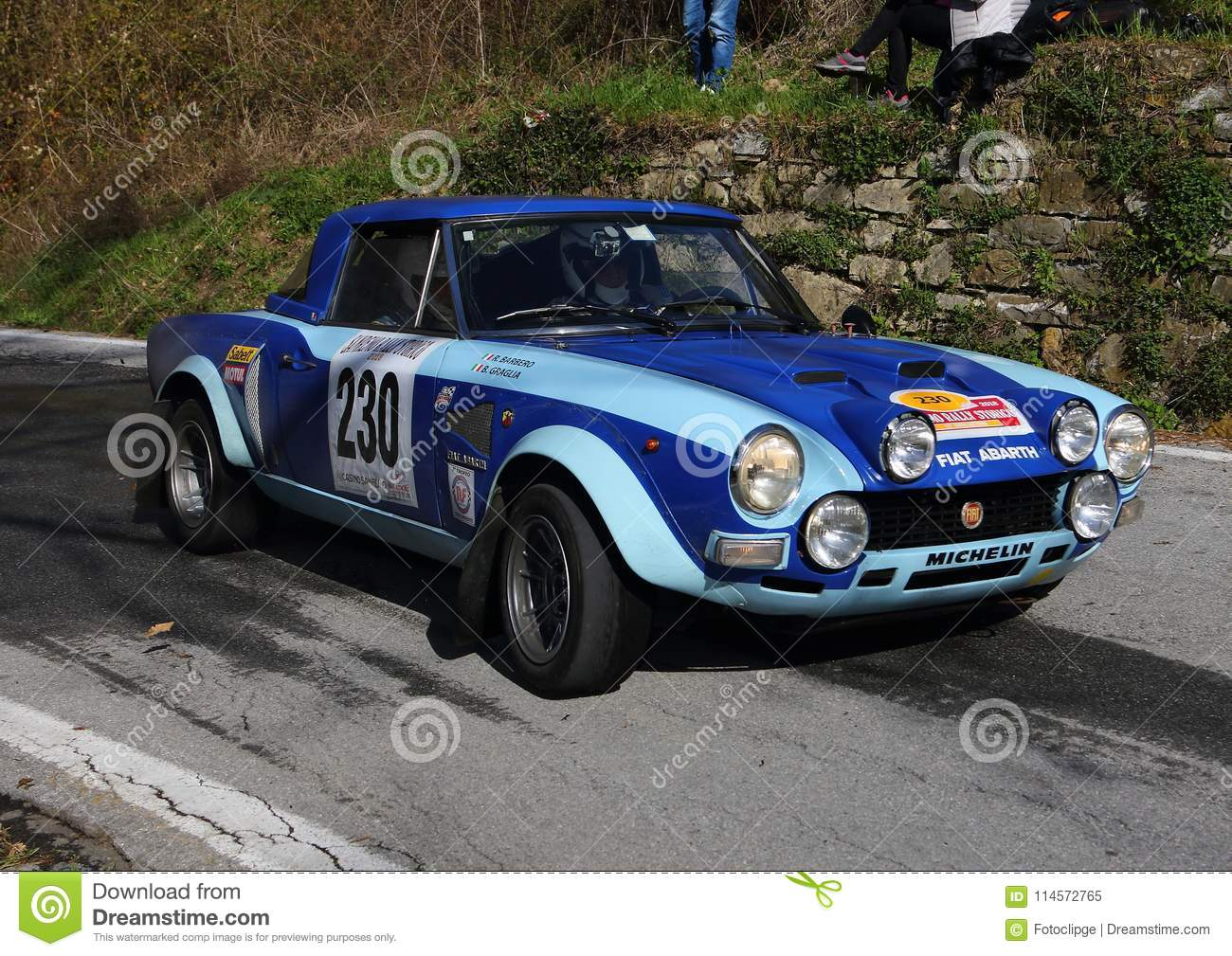 Fiat 124 Abarth Historic Race Car During The Race Editorial Image