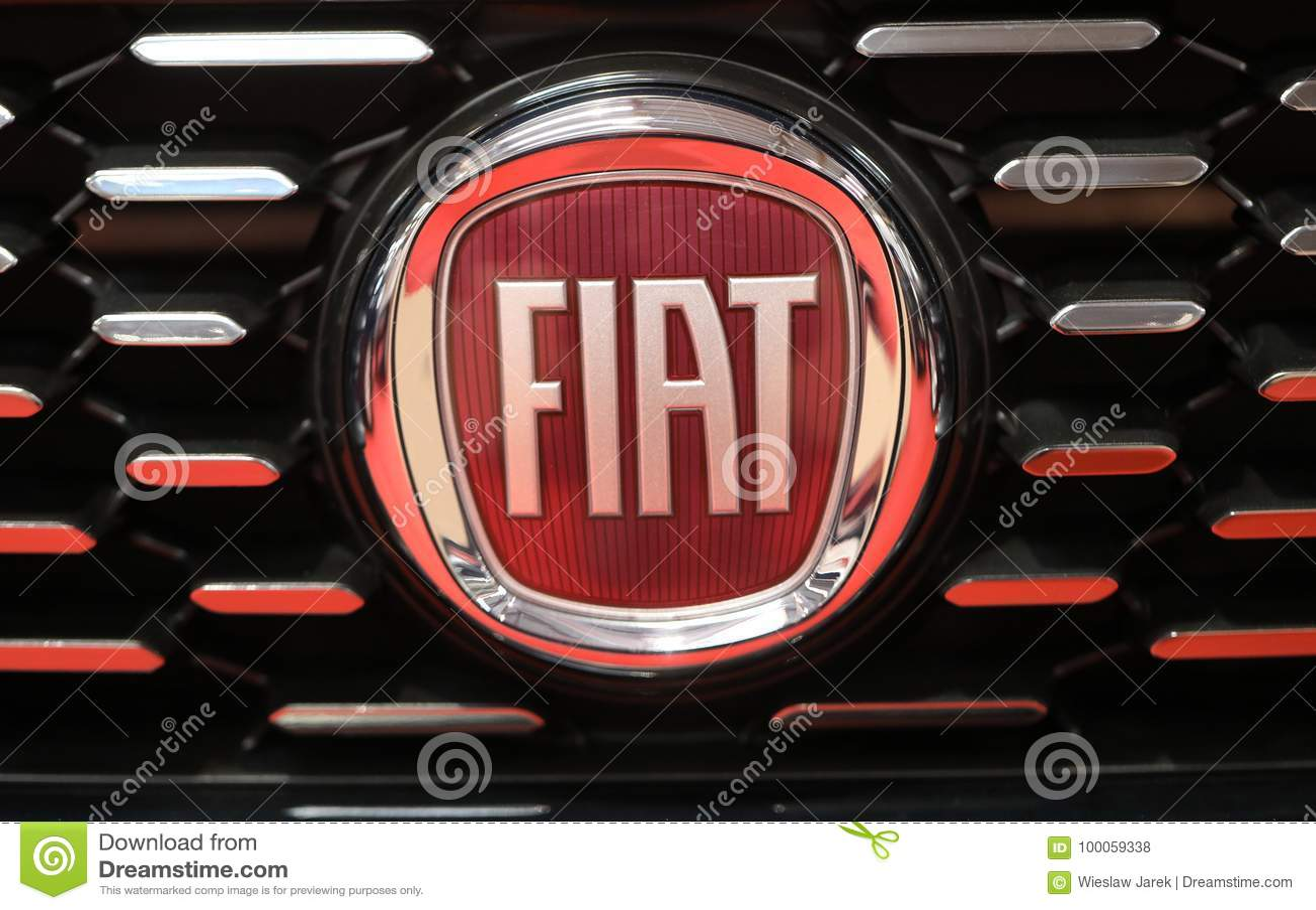 Fiat Metallic Logo Closeup On Fiat Car Displayed At Moto Show In