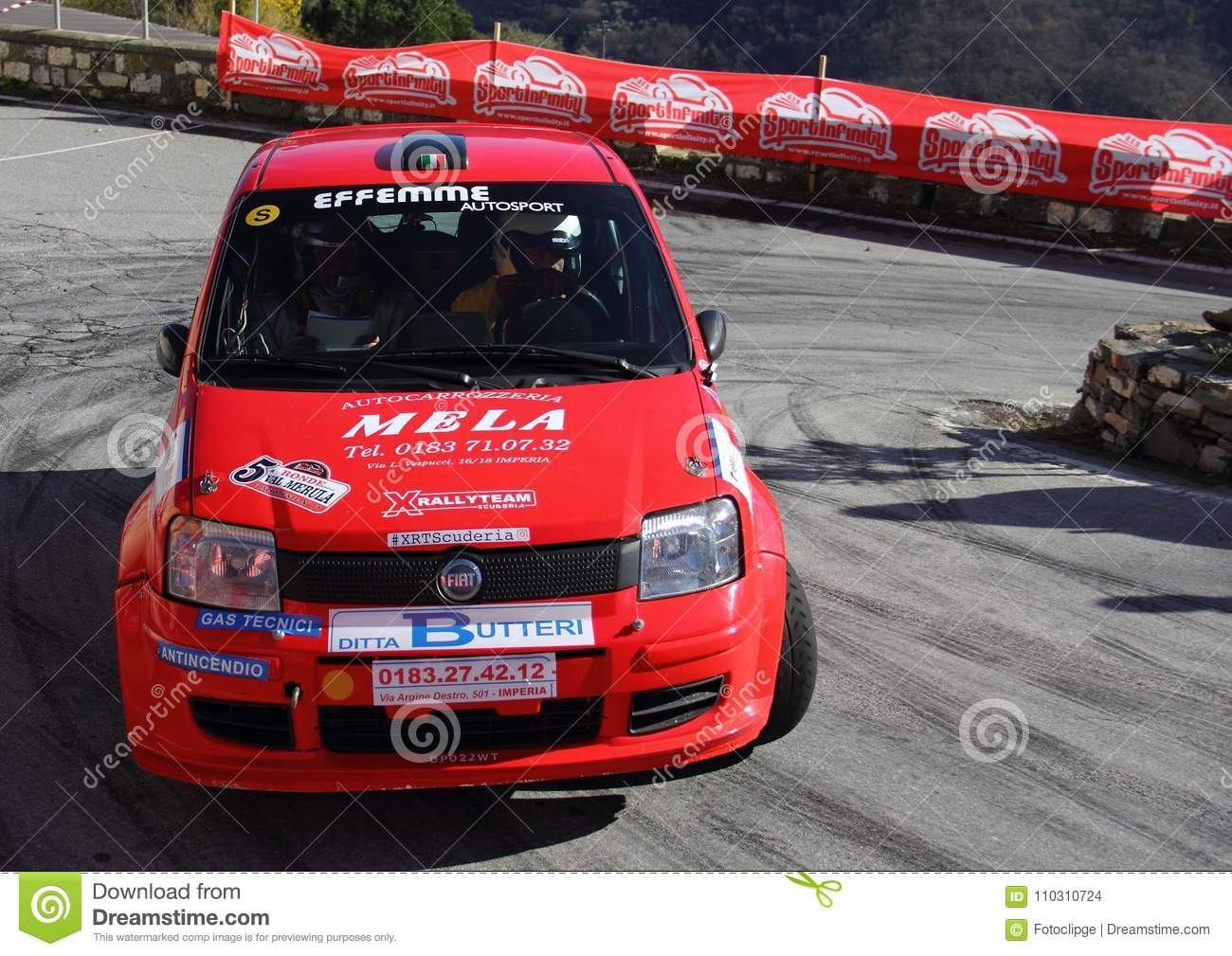 A Fiat Panda Race Car Involved In The Race Editorial Stock Image