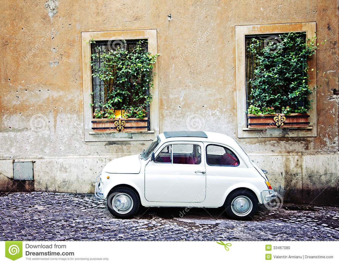 fiat 500 parked in rome italy stock photo image 33467080. Black Bedroom Furniture Sets. Home Design Ideas