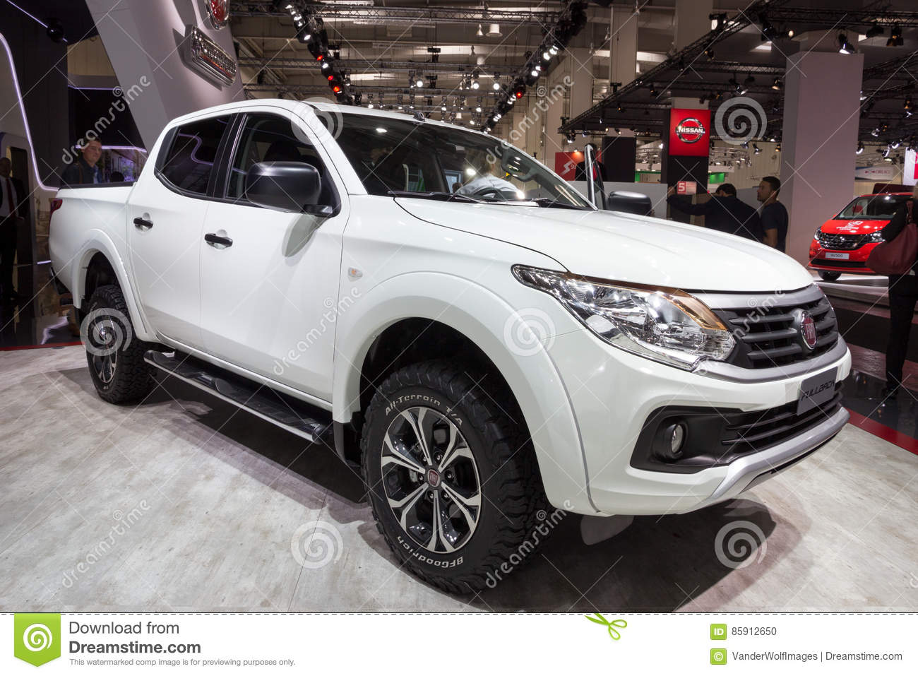 hannover, germany - sep 21, 2016: new 2017 fiat professional fullback  extended cab pick-up truck at the international motor show for commercial  vehicles
