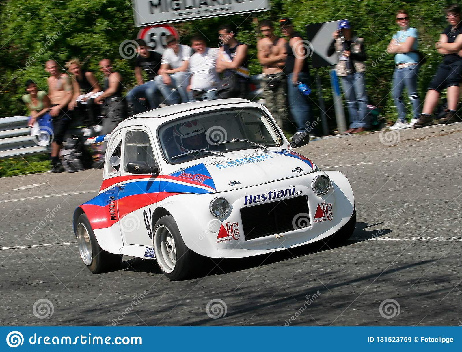 Fiat 500 Prototype Race Car During The Uphill Speed Race Editorial