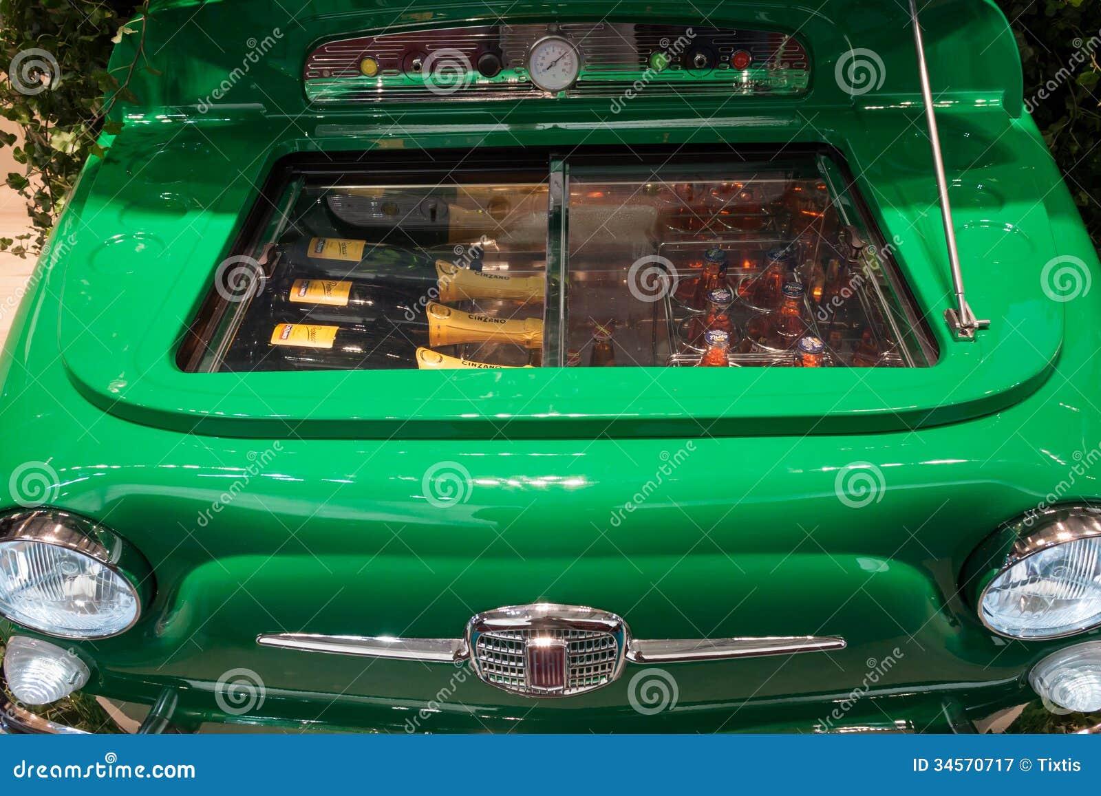 Fiat 500 Refrigerator At Host 2013 In Milan Italy Editorial
