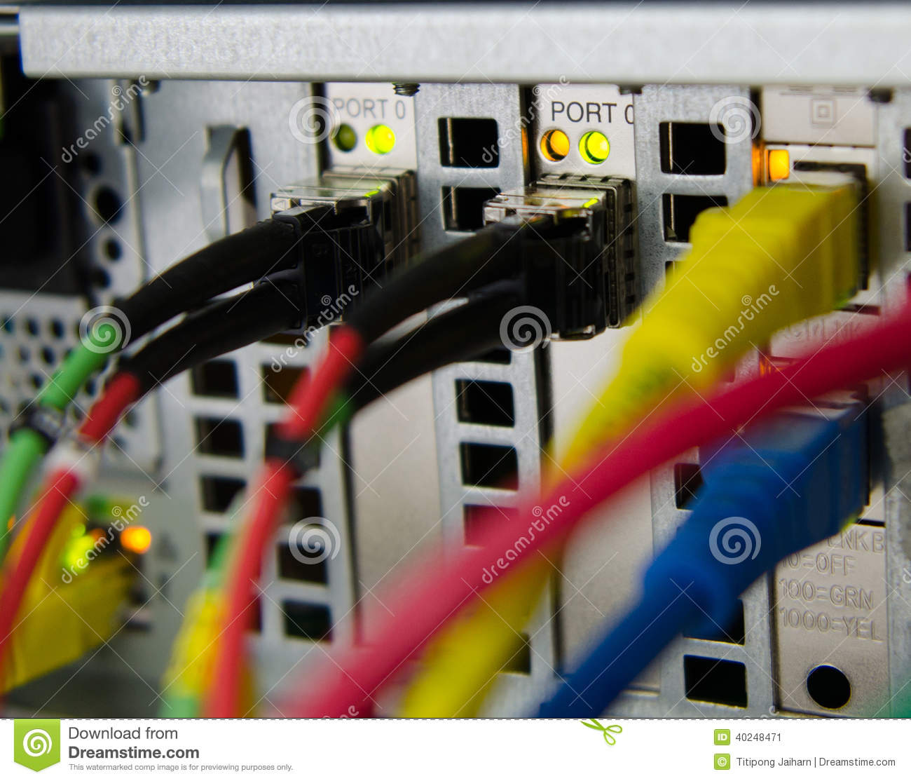 Fiber Optic Connect To Server And Storage Stock Photo