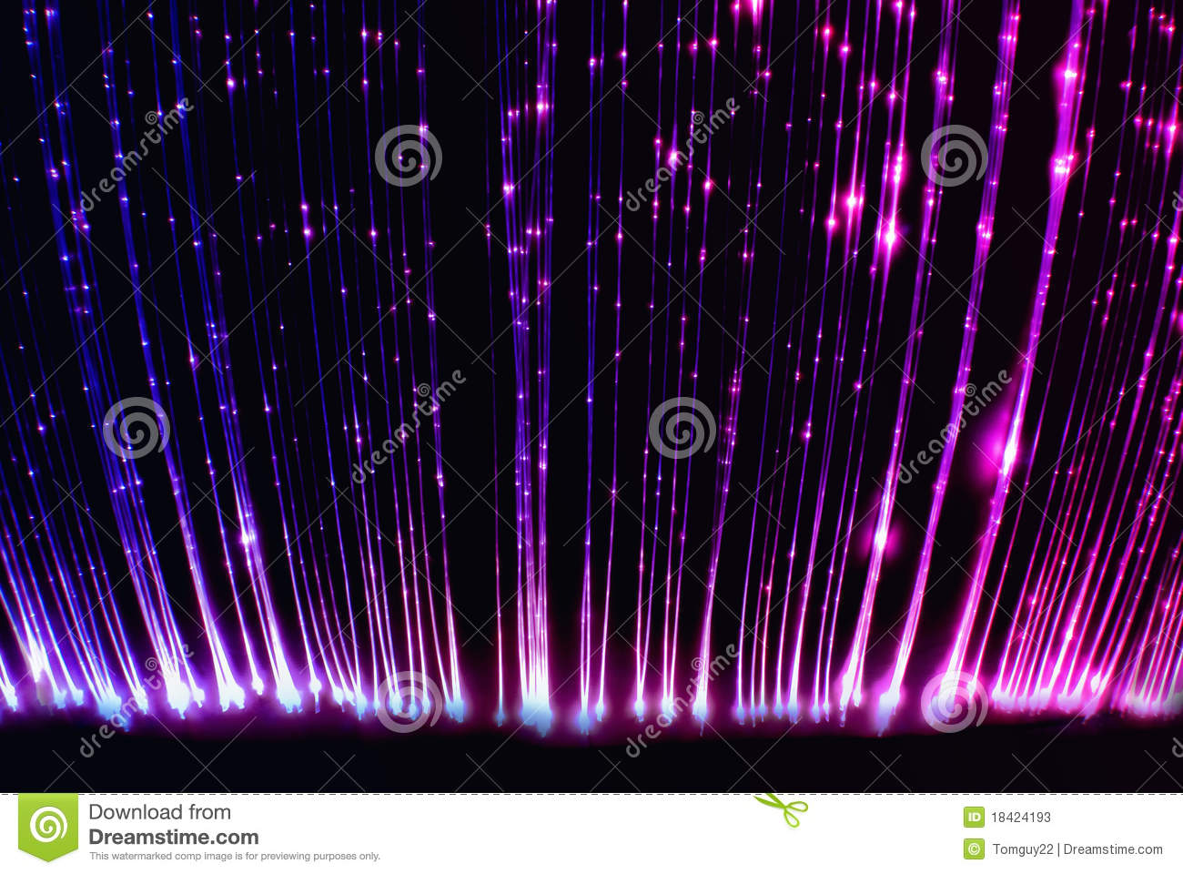 fiber optic light cables in the light sensory room stock image