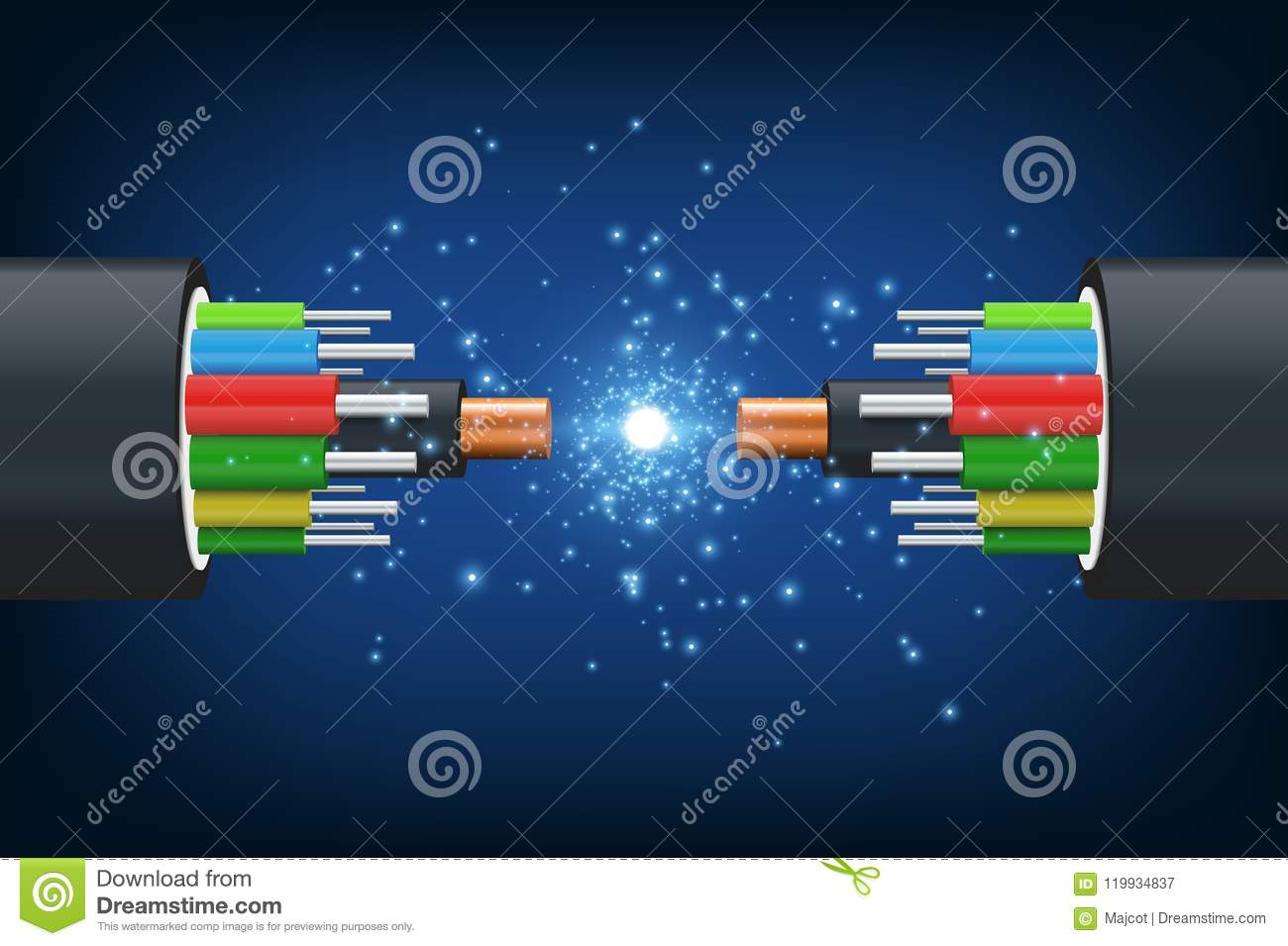 Fiber Optical Cable Stock Vector Illustration Of 119934837 Optics Diagram Optic Technology And Its Role In The