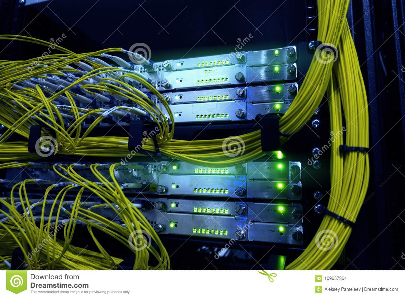 Telecommunication  Optical Cables Stock Photo - Image of
