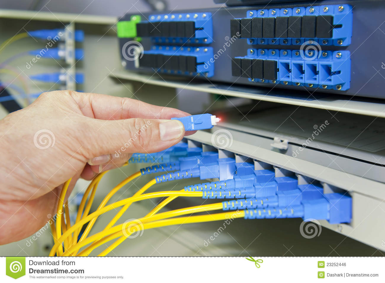 Fiber Optical Network Cables Patch Panel Stock Photo