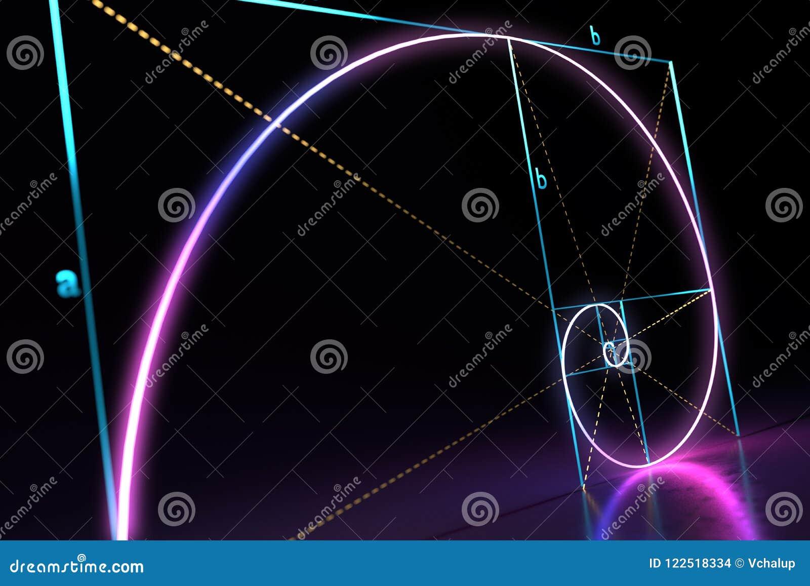 Fibonacci golden ratio spiral on black background. 3D rendered illustration