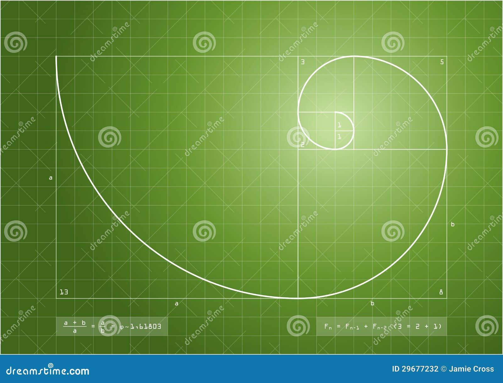 fibonacci sequence - golden spiral stock photography