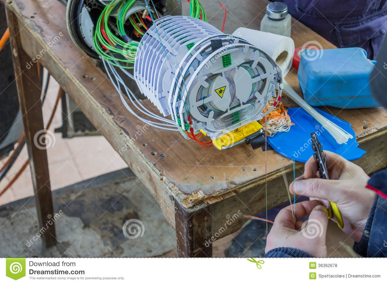 Fibre Optic Technician Preparing The Fibers Royalty Free Stock ...