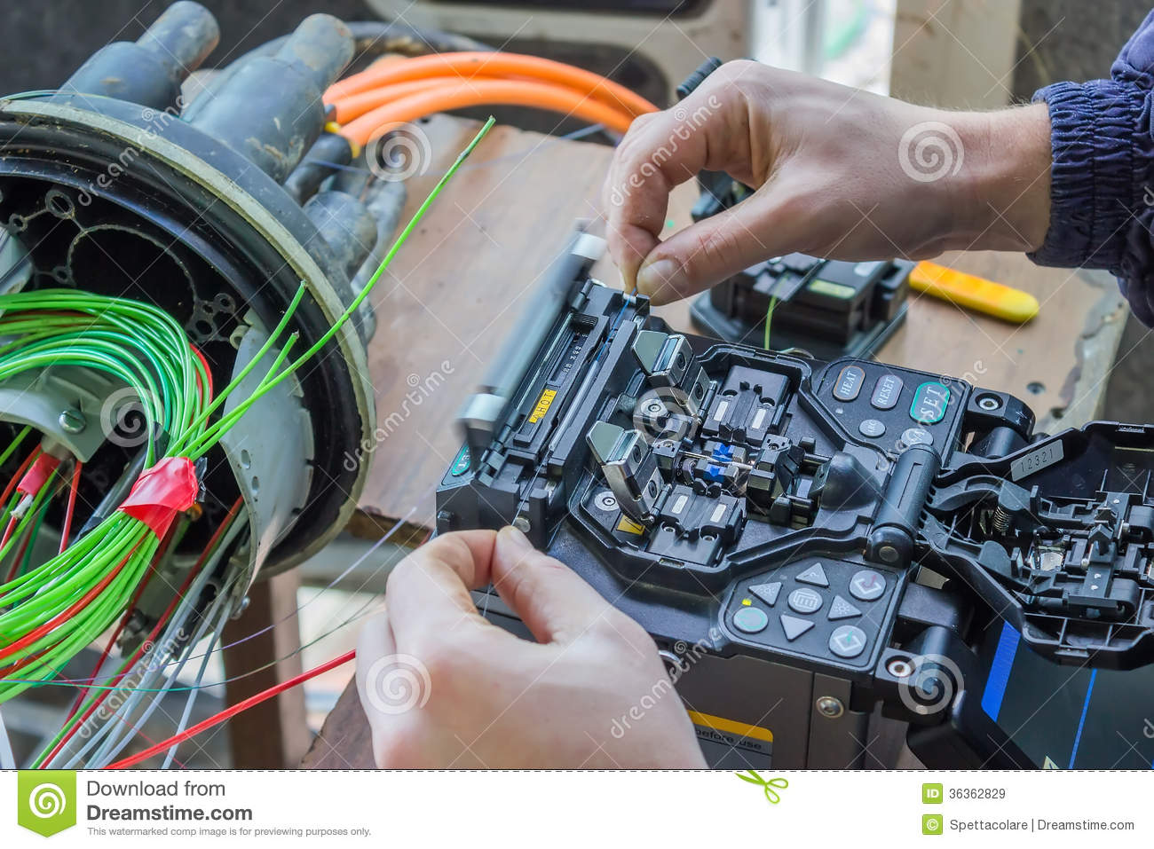 Fibre Optic Technician Splicing Fibers 2 Royalty Free Stock Images ...